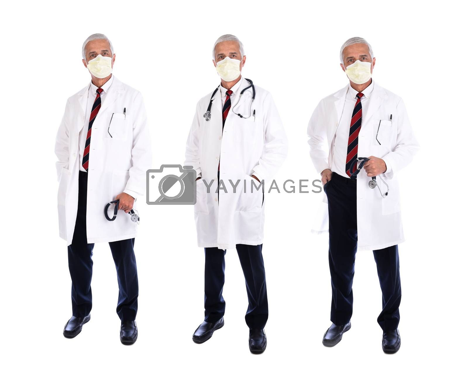 Three views of a mature doctor holding wearing a lab coat and mask in different poses, isolated on white.