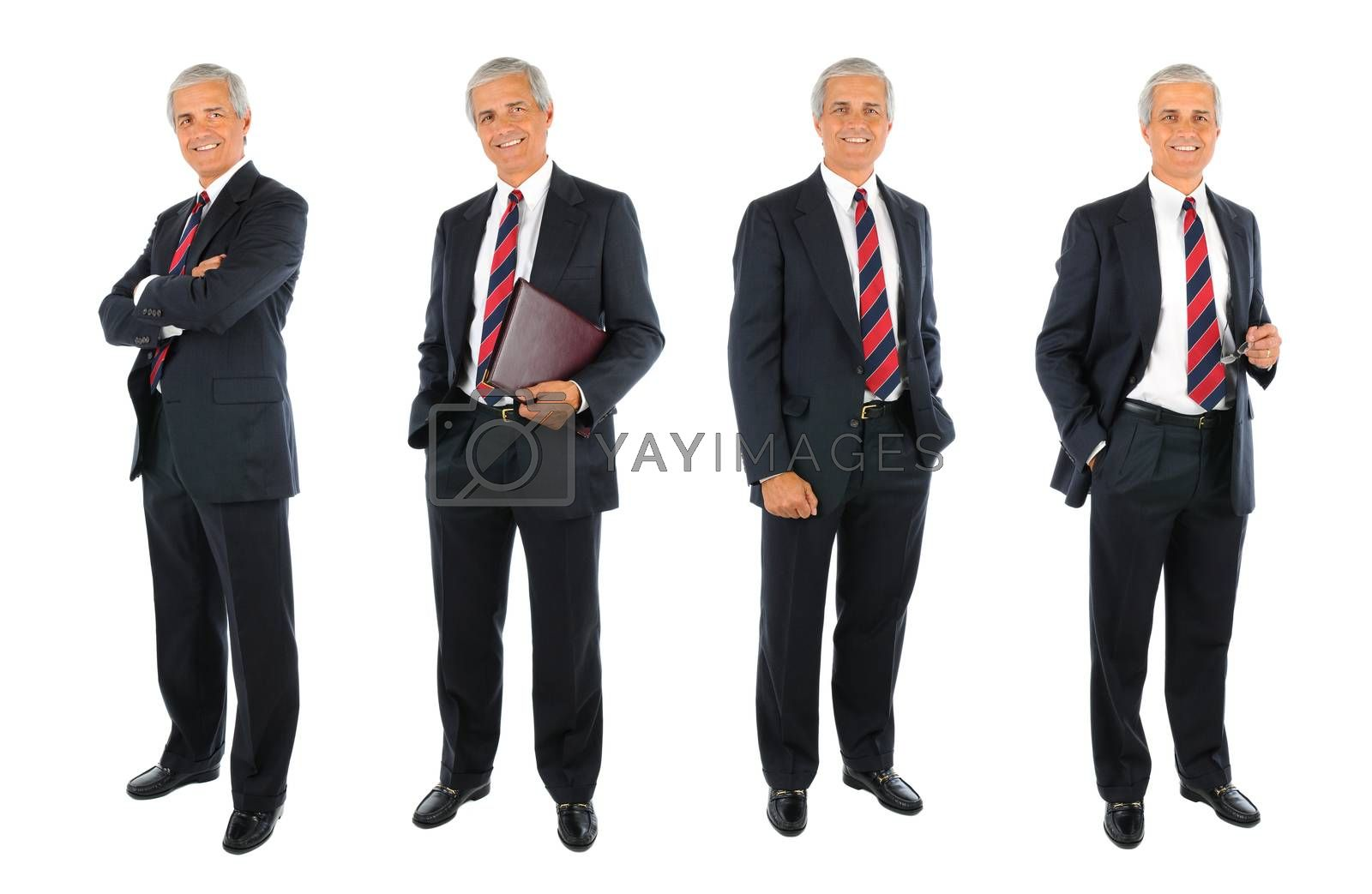 Mature Businessman collage. four Full length images with different poses over a white background.