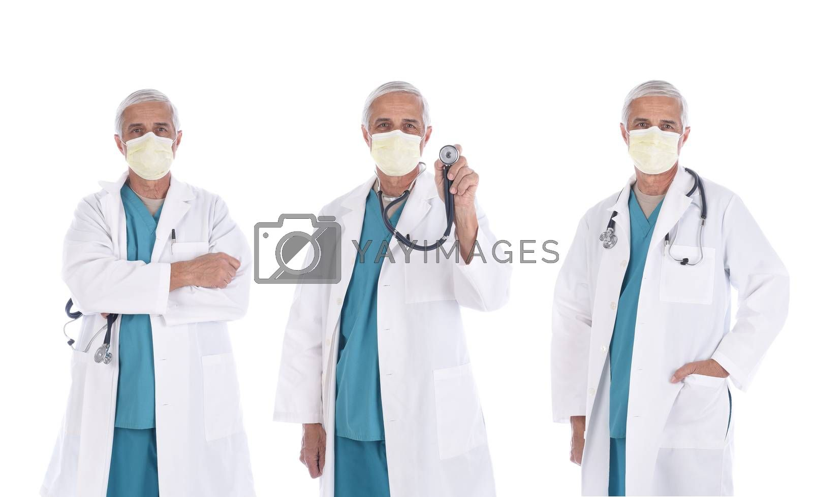 Three views of a mature doctor wearing a lab coat, surgical scrubs, and mask in different poses, isolated on white.