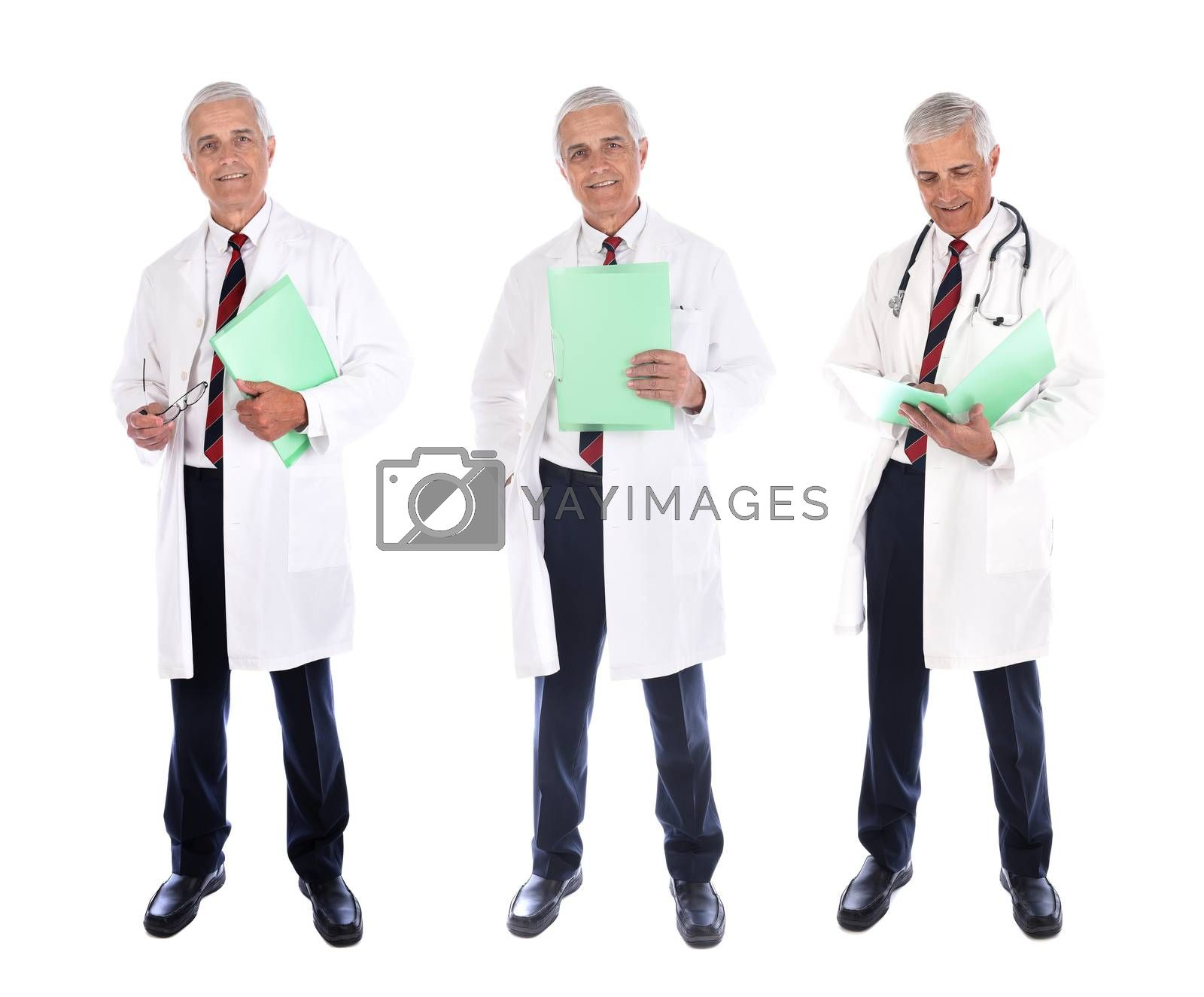 Three views of a mature doctor wearing a lab coat, and holding a patients file with different poses, isolated on white.