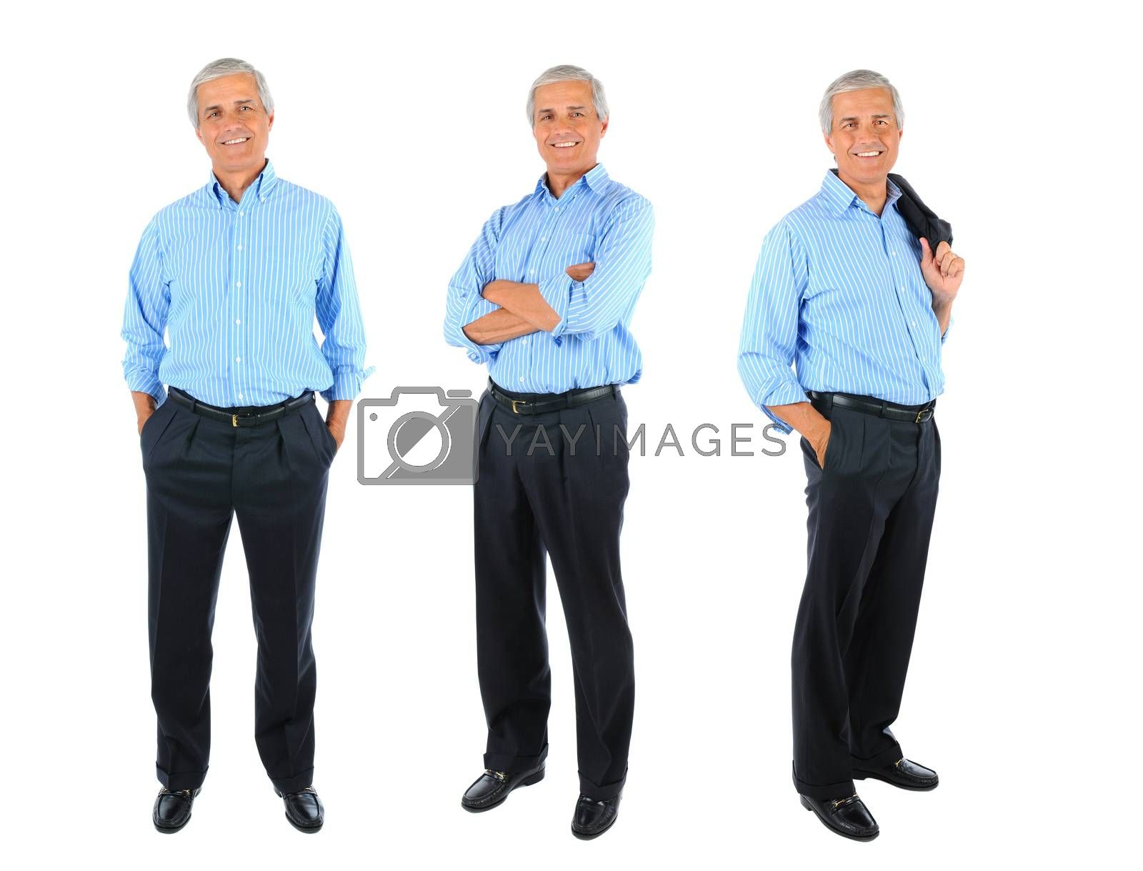 Three full length Businessman Portraits collage. Full length over a white background.