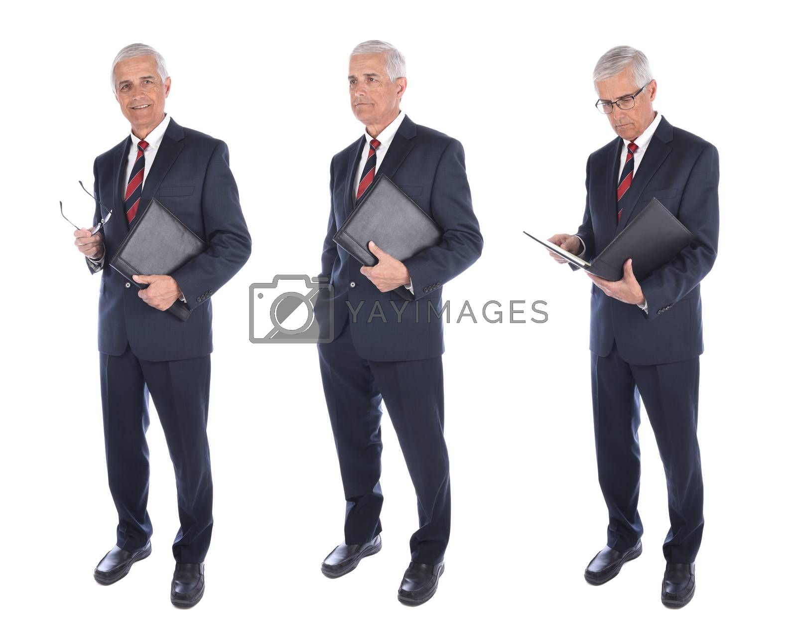 Three different views of a mature businessman holding a notebook, isolated on white.