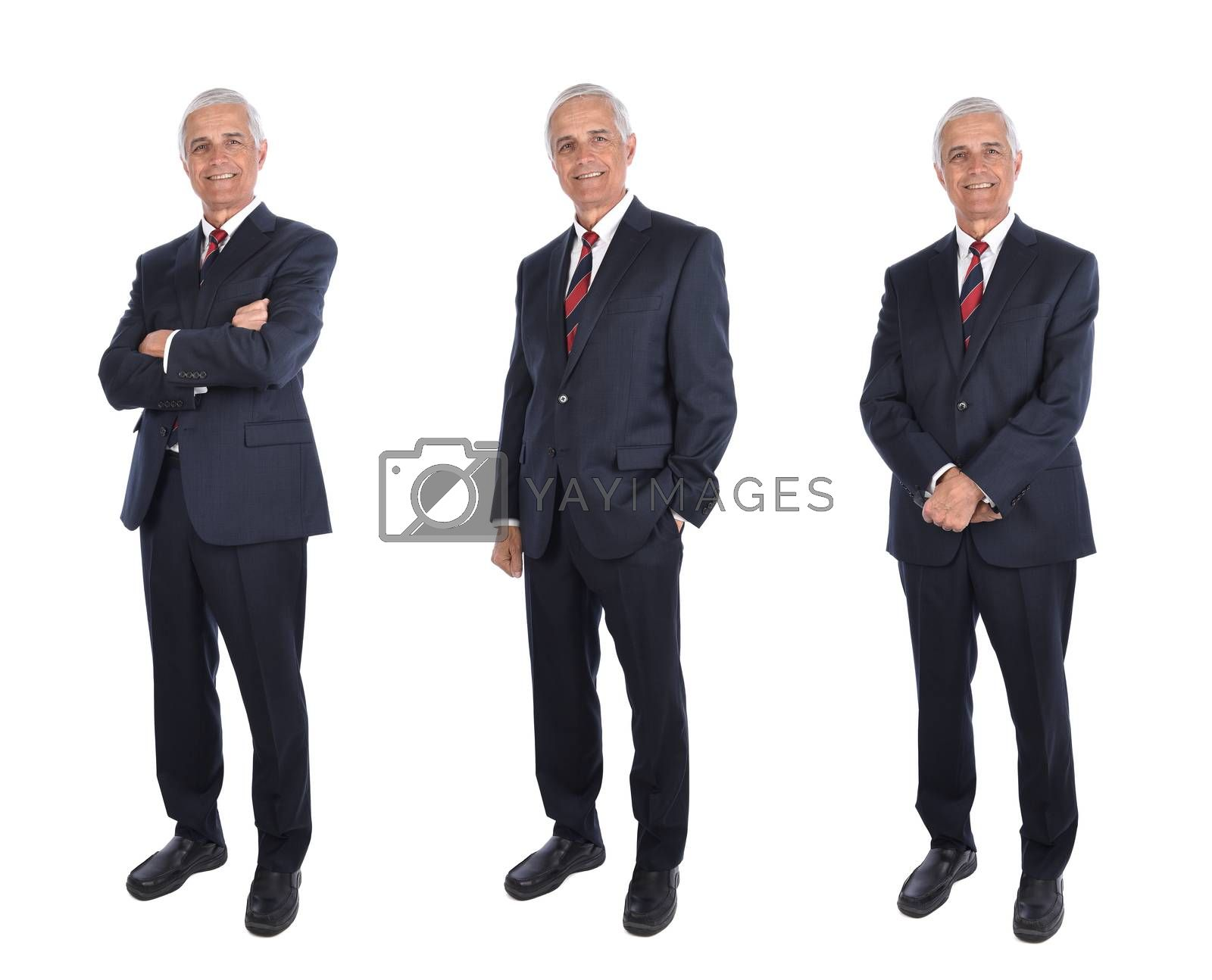 Three views of a mature businessman in full length in different poses, arms folded, hands in pocklet, isolated on white.