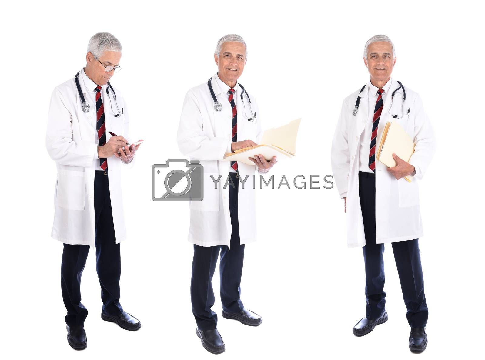 Three views of a mature doctor writing a prescription, holding a patients file while wearing a lab coat in different poses, isolated on white.