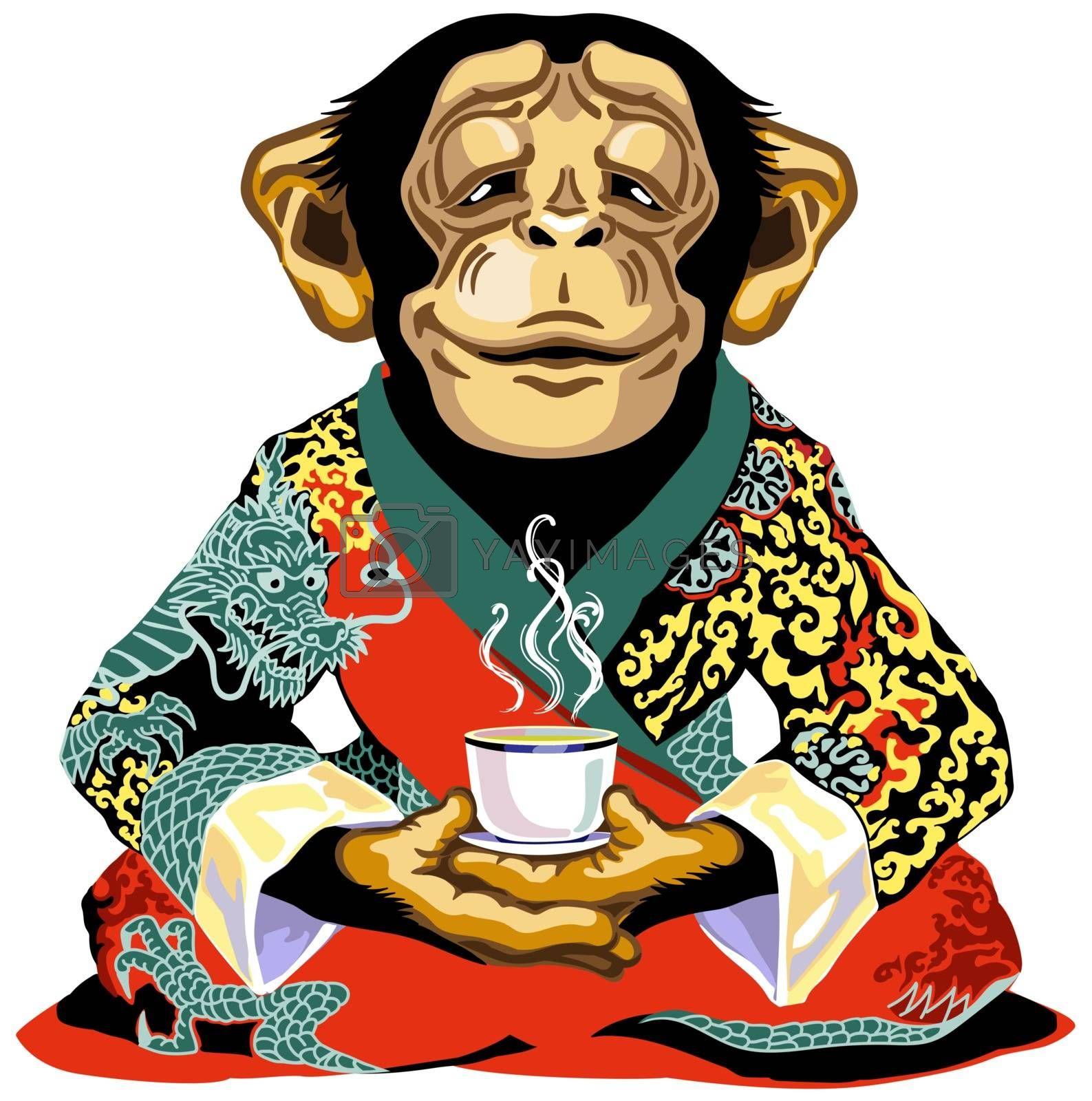 cartoon chimpanzee great ape or chimp monkey wearing red kimono robe, sitting in lotus yoga pose and holding a cup of tea. Meditating calm and peaceful emotion. Front view. Isolated vector illustration