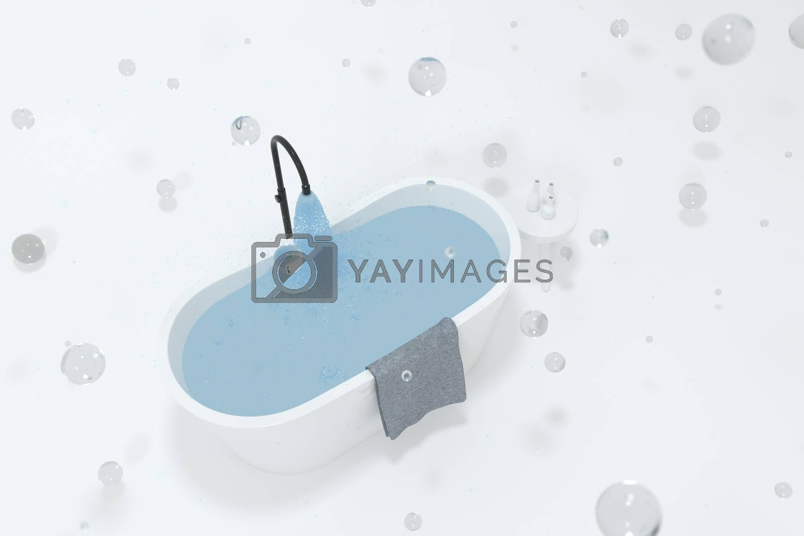 Cartoon bathtub with white background, 3d rendering. Computer digital drawing.