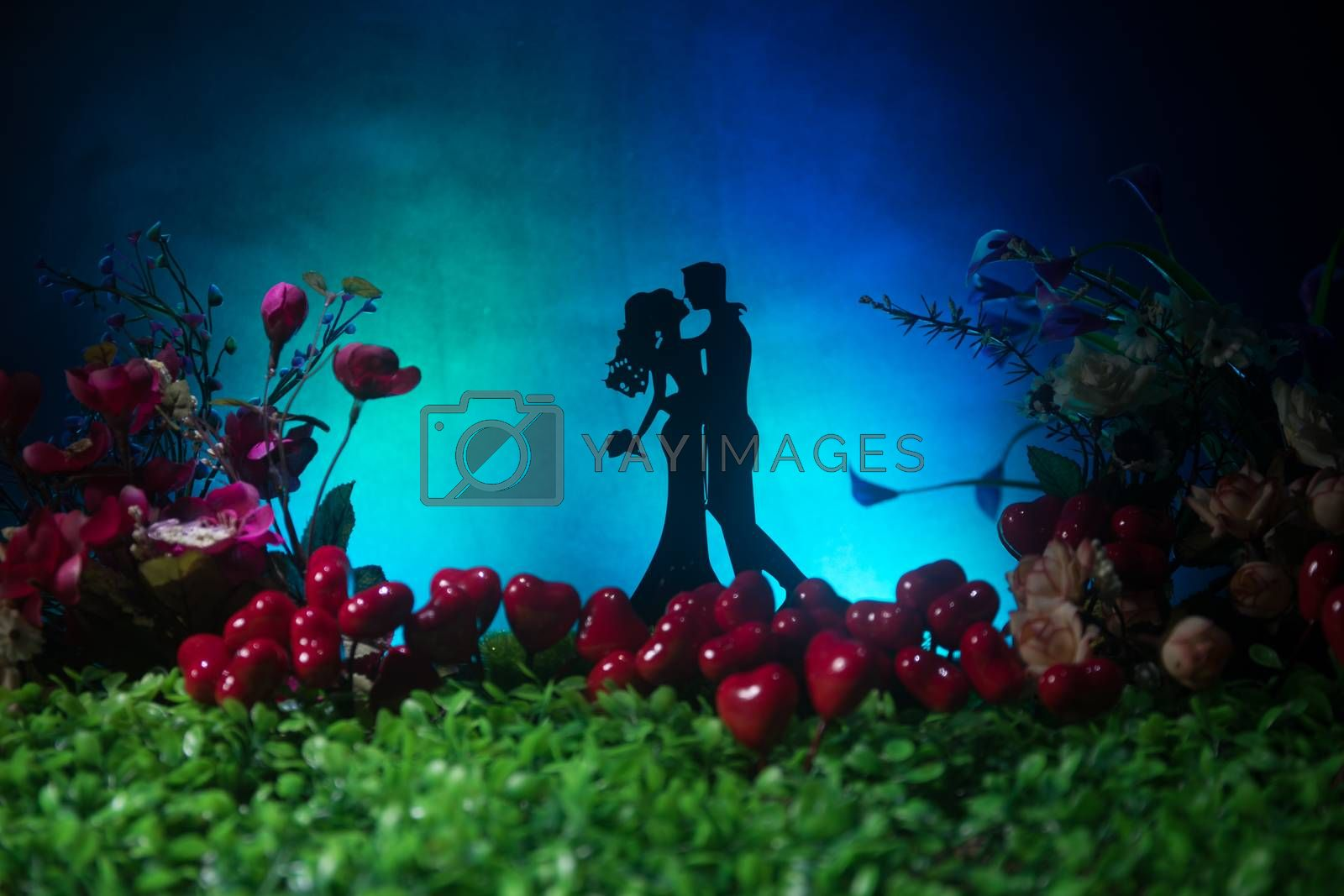 Will you marry me? Valentines Day artwork decoration. Beautiful bride with heart against dark toned background. Valentine greeting card decor. Selective focus