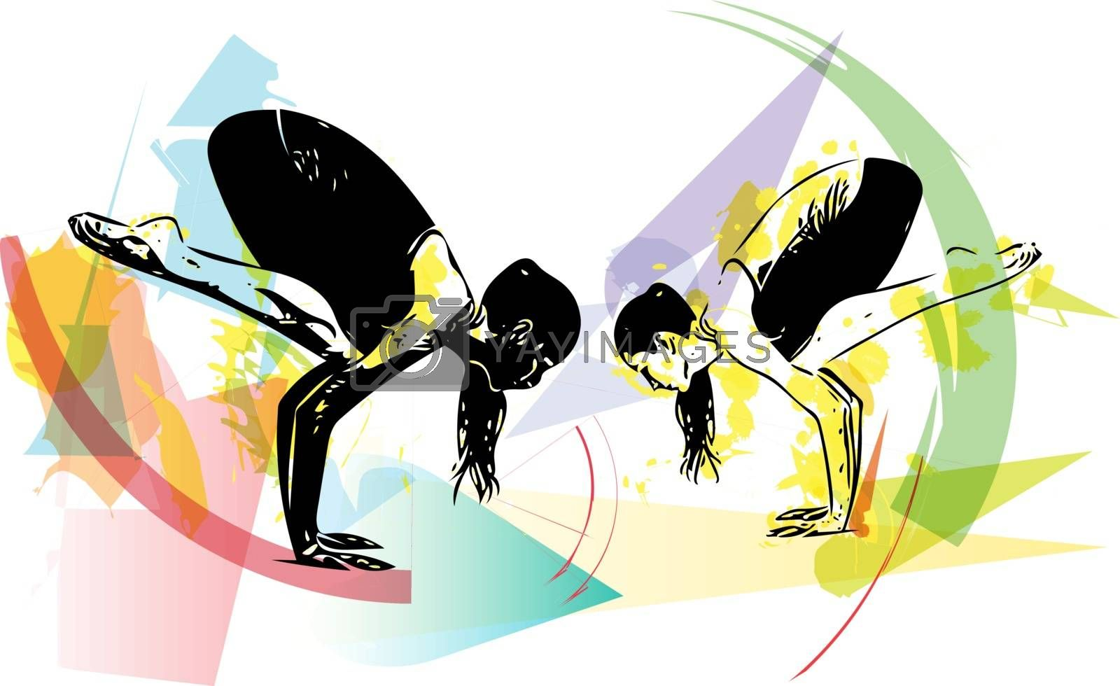 Yoga sketch women illustration with abstract colorful background