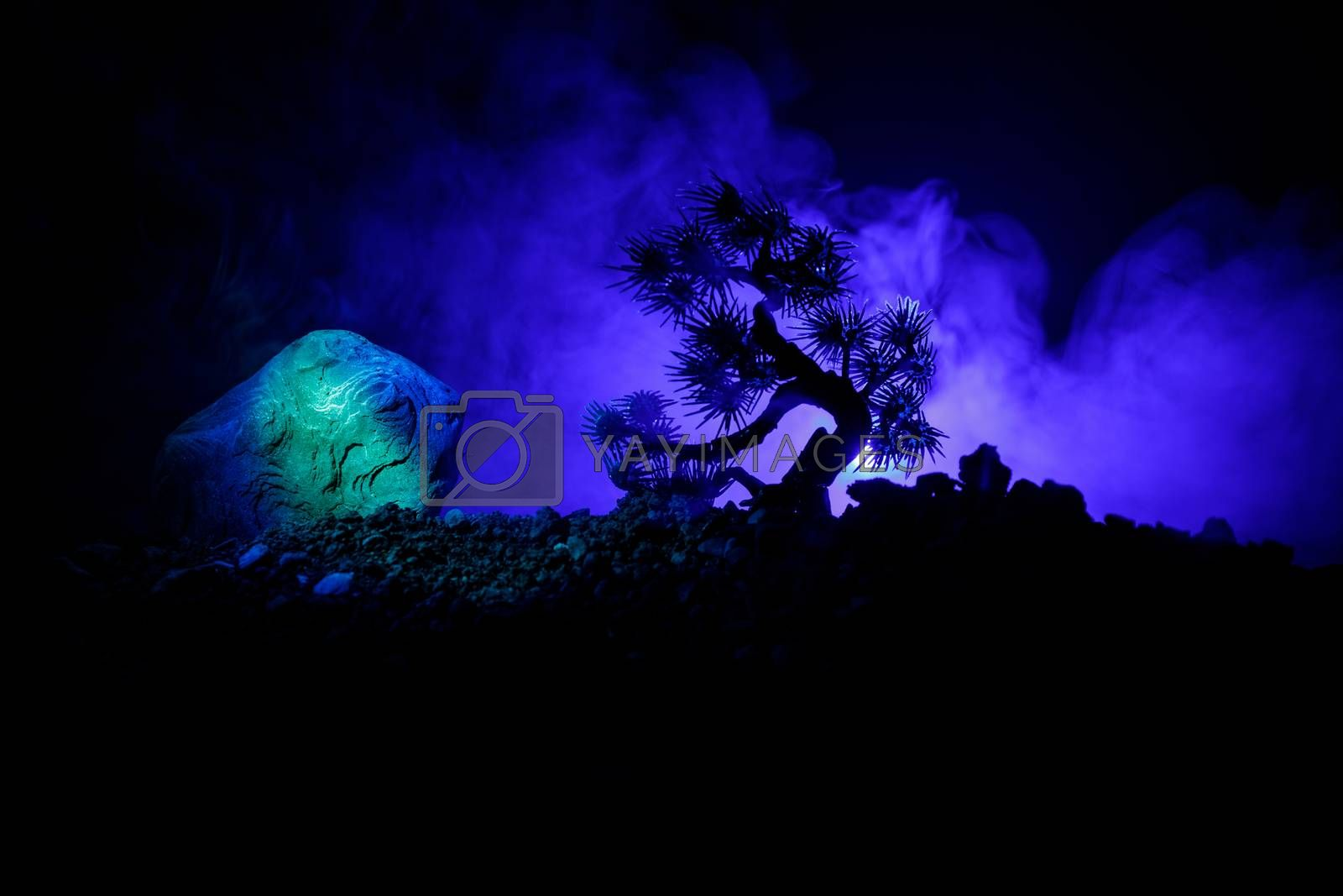 Silhouette Tree on full moon background. Full moon rising above japanese style tree against toned foggy sky. Decorated photo