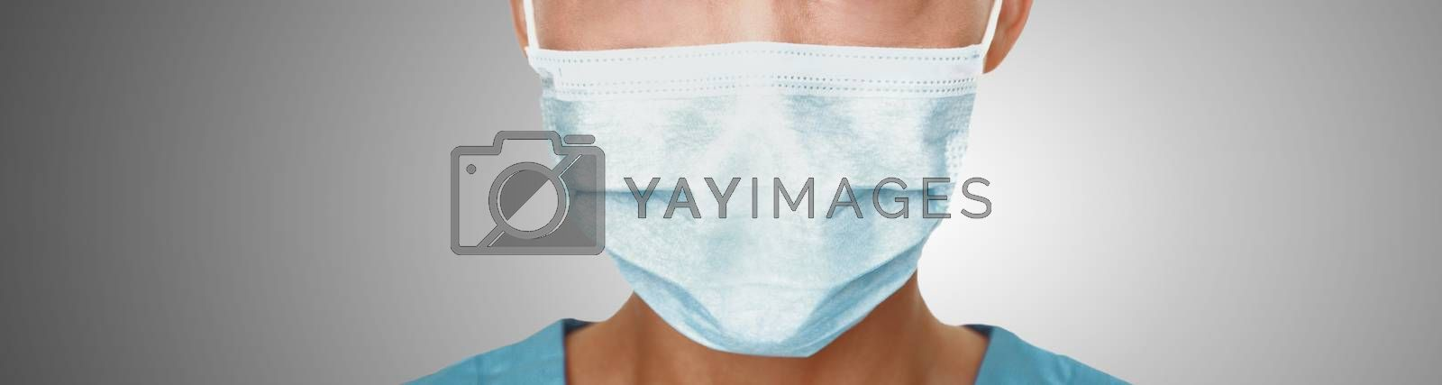 Coronavirus surgical mask doctor wearing face protective mask against corona virus banner panoramic medical professional preventive gear by Maridav