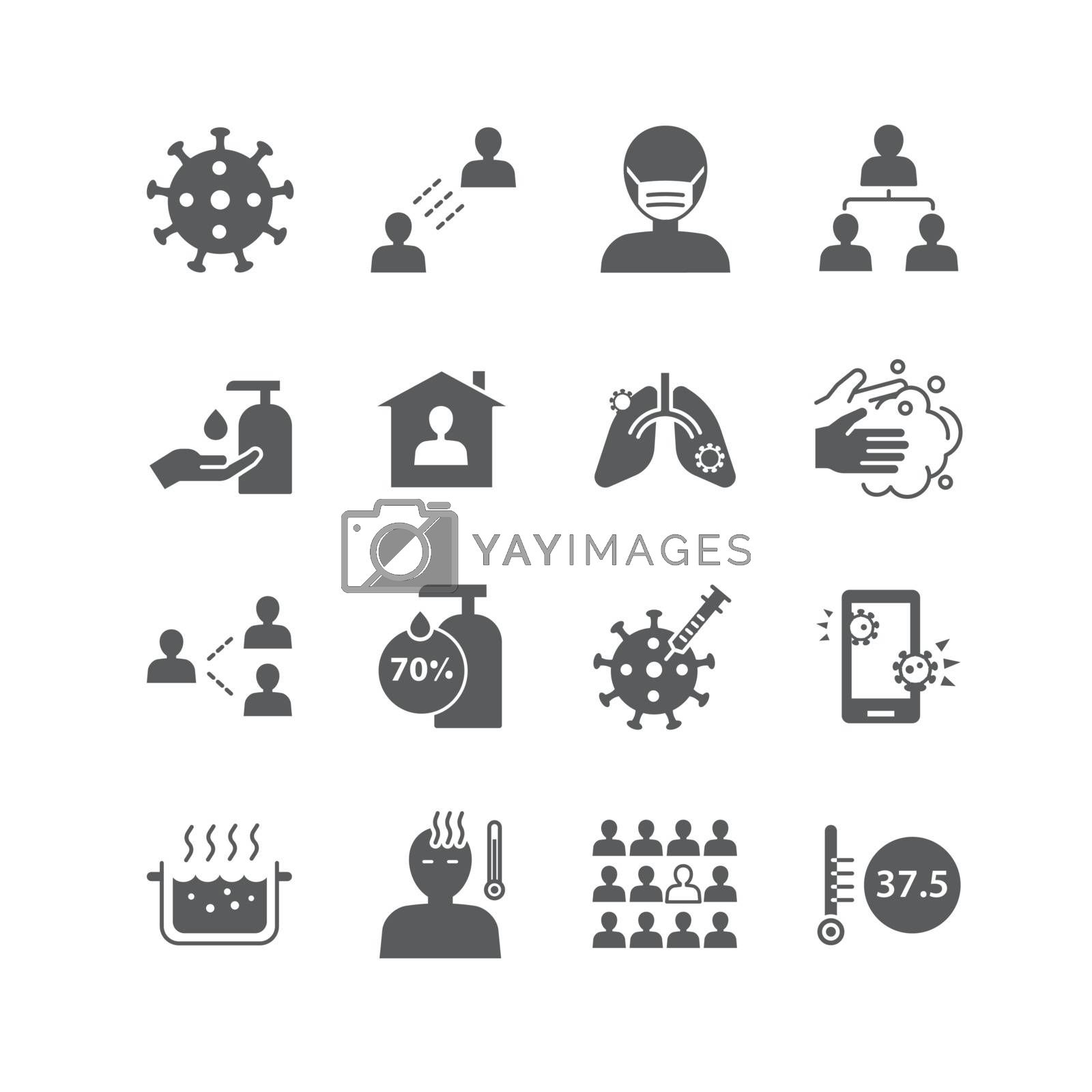 icons set coronavirus covid-19 design.