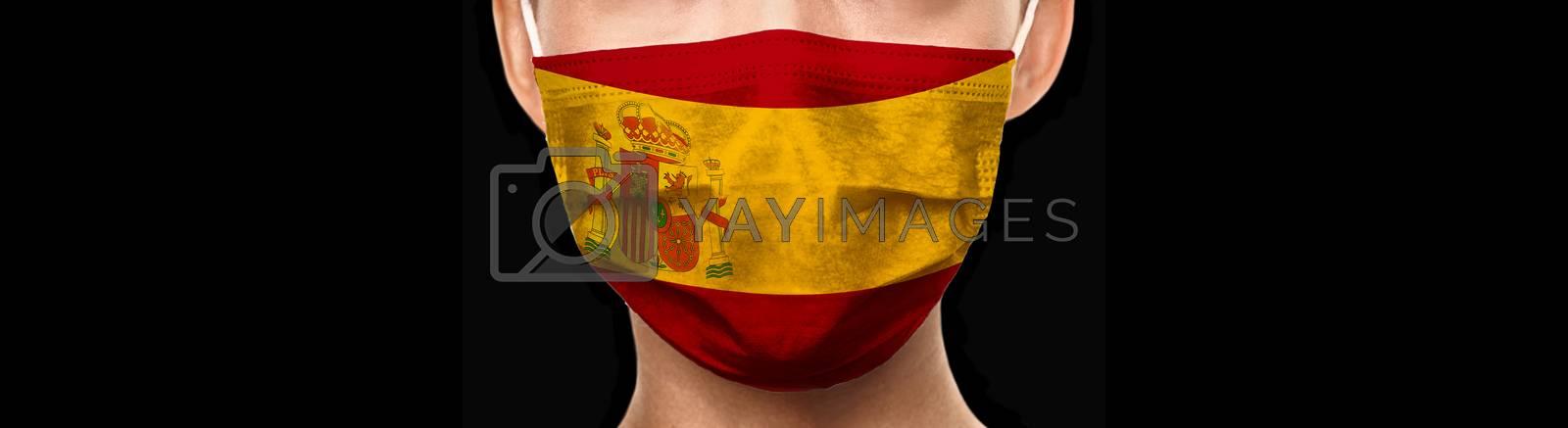 Spain flag doctor mask banner background for COVID-19 Coronavirus concept. Isolated on black by Maridav