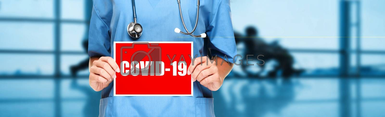 COVID-19 Coronavirus doctor holding sign in hospital banner background. Panoramic medical worker showing corona virus sign panoramic banner with text title by Maridav