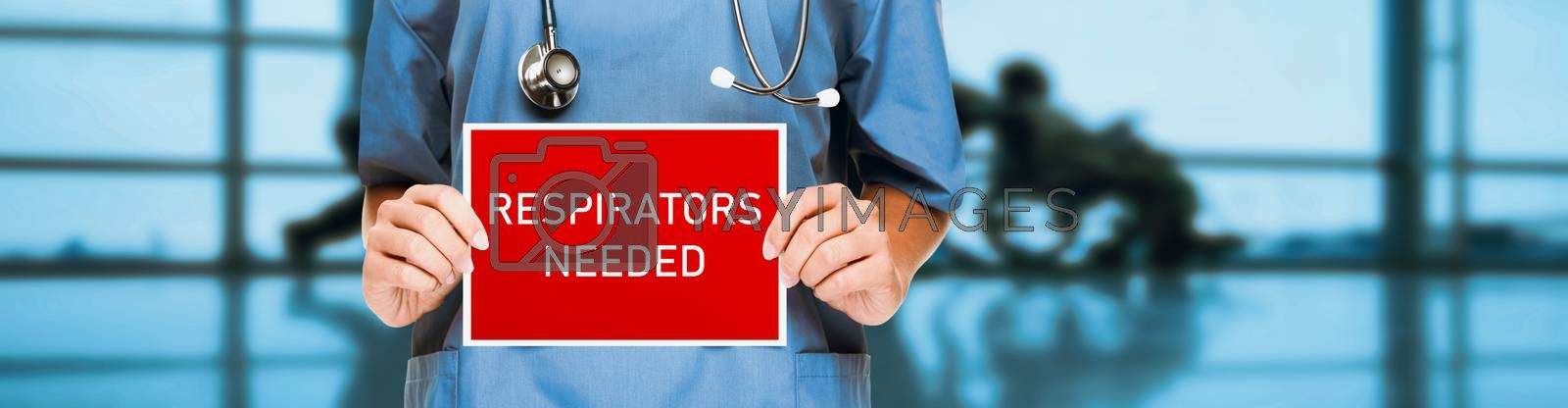 COVID-19 respirators masks needed in hospital for medical workers urgency. doctor or nurse showing sign asking for help holding red billboard white text. Panoramic corona virus sign banner with title by Maridav