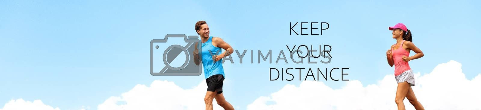 Runners training running outdoor exercise fitness people walking panoramic banner with text message KEEP YOUR DISTANCE for social distancing COVID-19. Healthy active couple man woman jogging header by Maridav