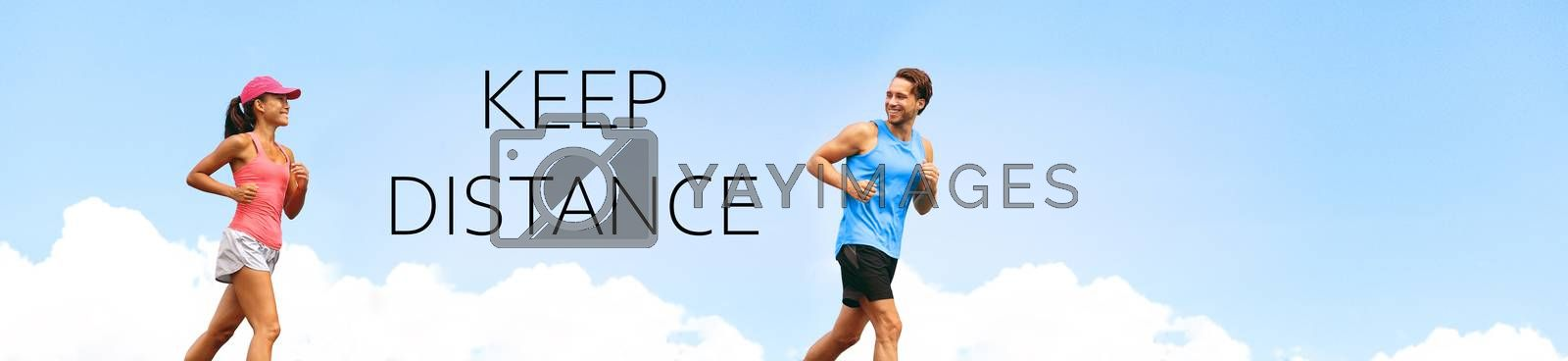 KEEP DISTANCE social distancing COVID-19 people walking running exercising outdoor in city. Healthy active runners man woman jogging header summer lifestyle banner by Maridav