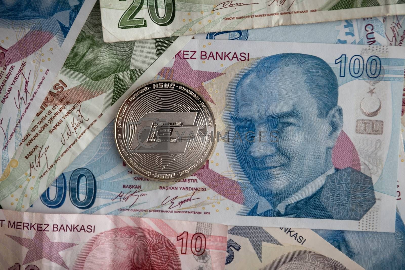 Bunch of Various Turkish Lira Banknotes and Dash Coin