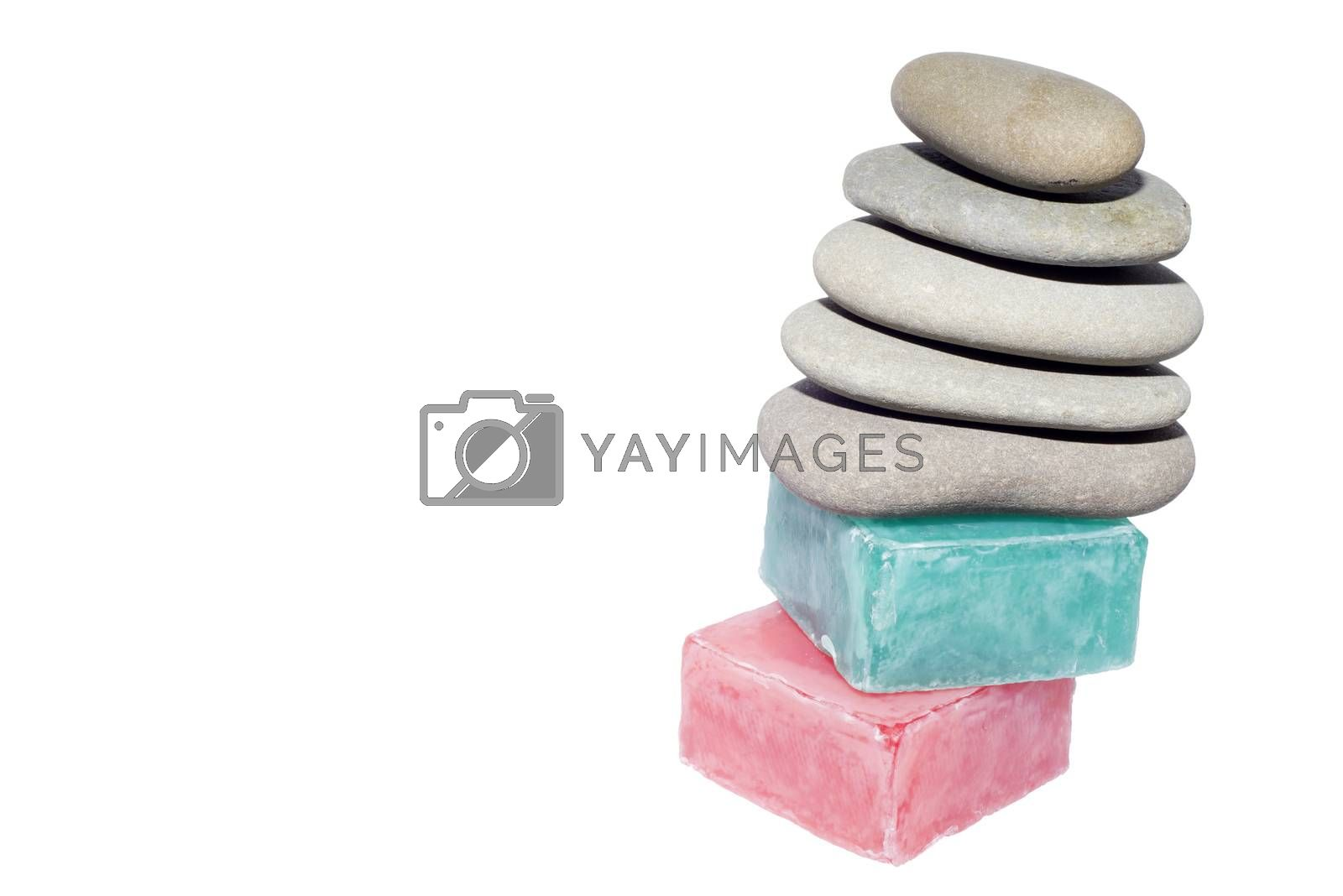 soaps off various shades with grey sone pebbles