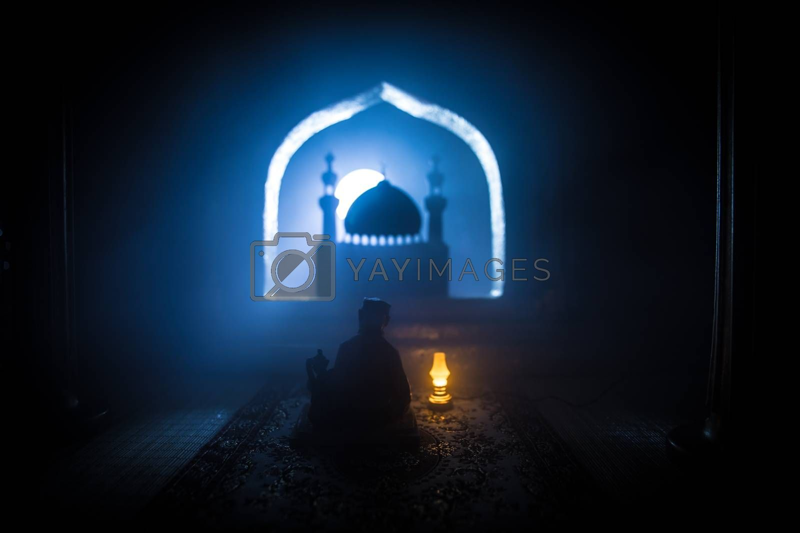 A realistic Arabian interior miniature with window and columns. Meals are served before sunrise called Suhur. Festive greeting card, invitation for Muslim holy month Ramadan Kareem. Selective focus