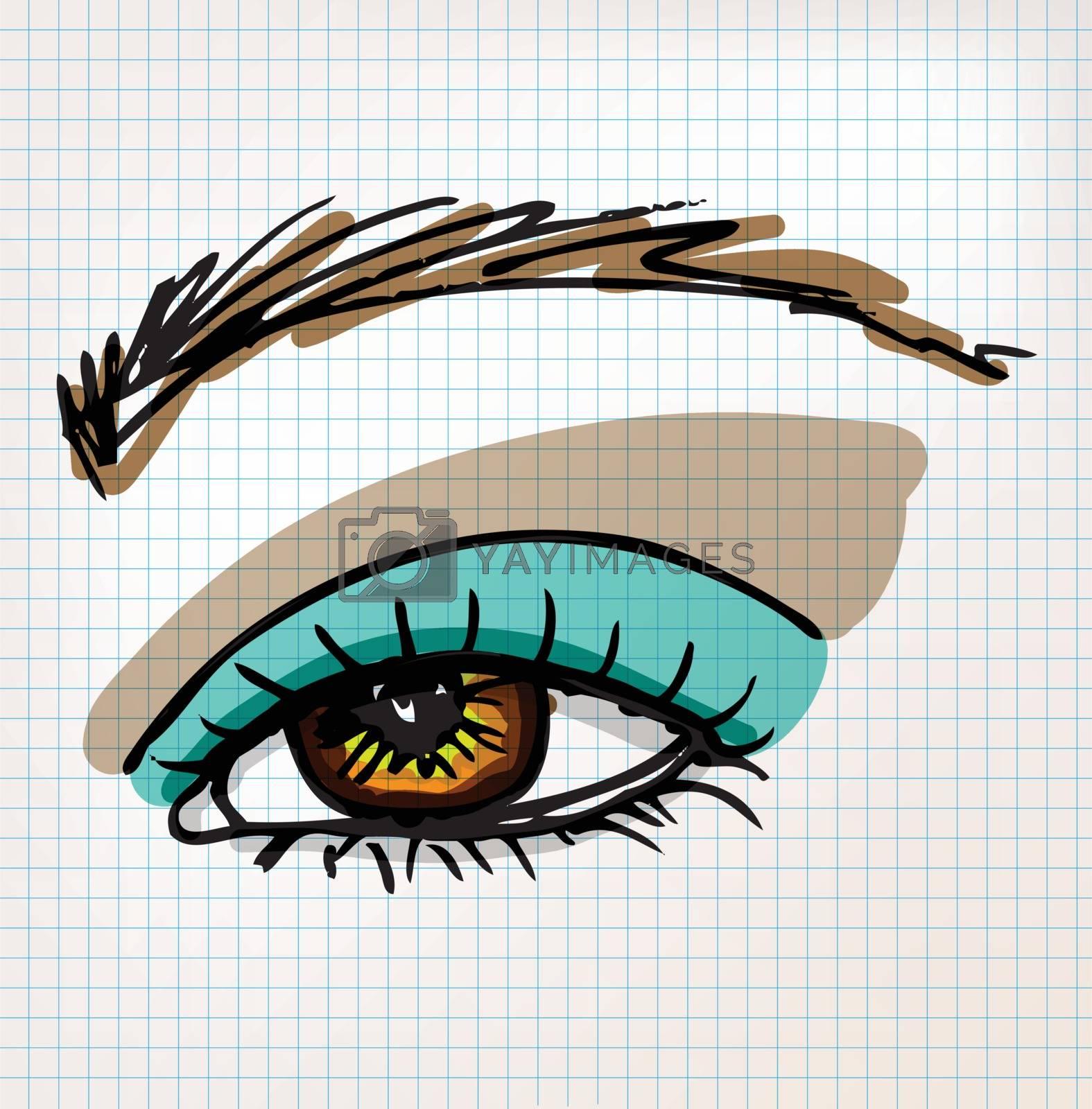 Female eye sketch illustration