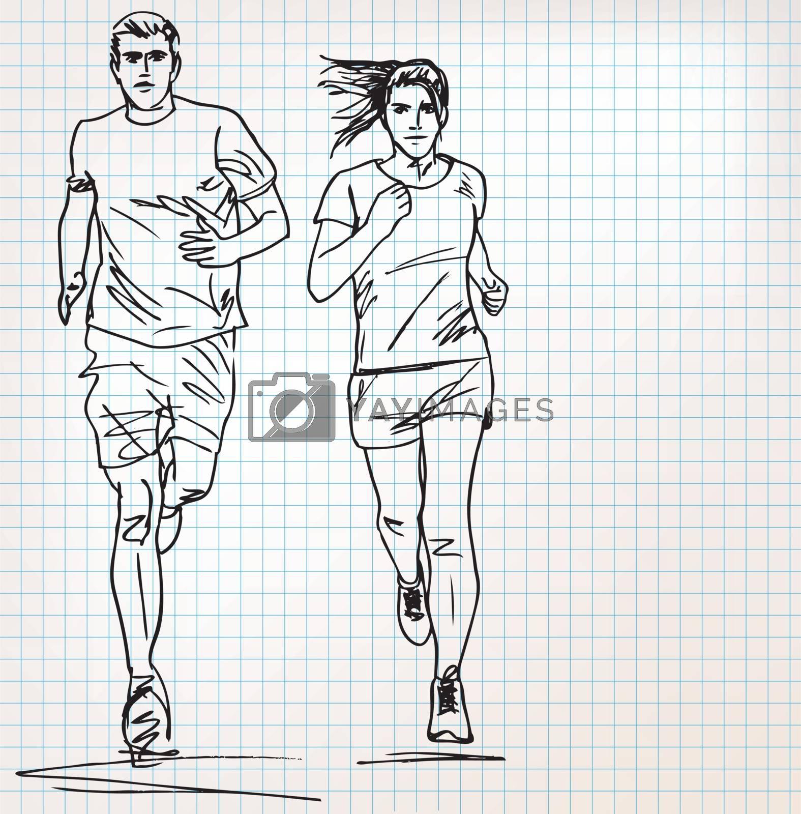 female and male runner sketch illustration