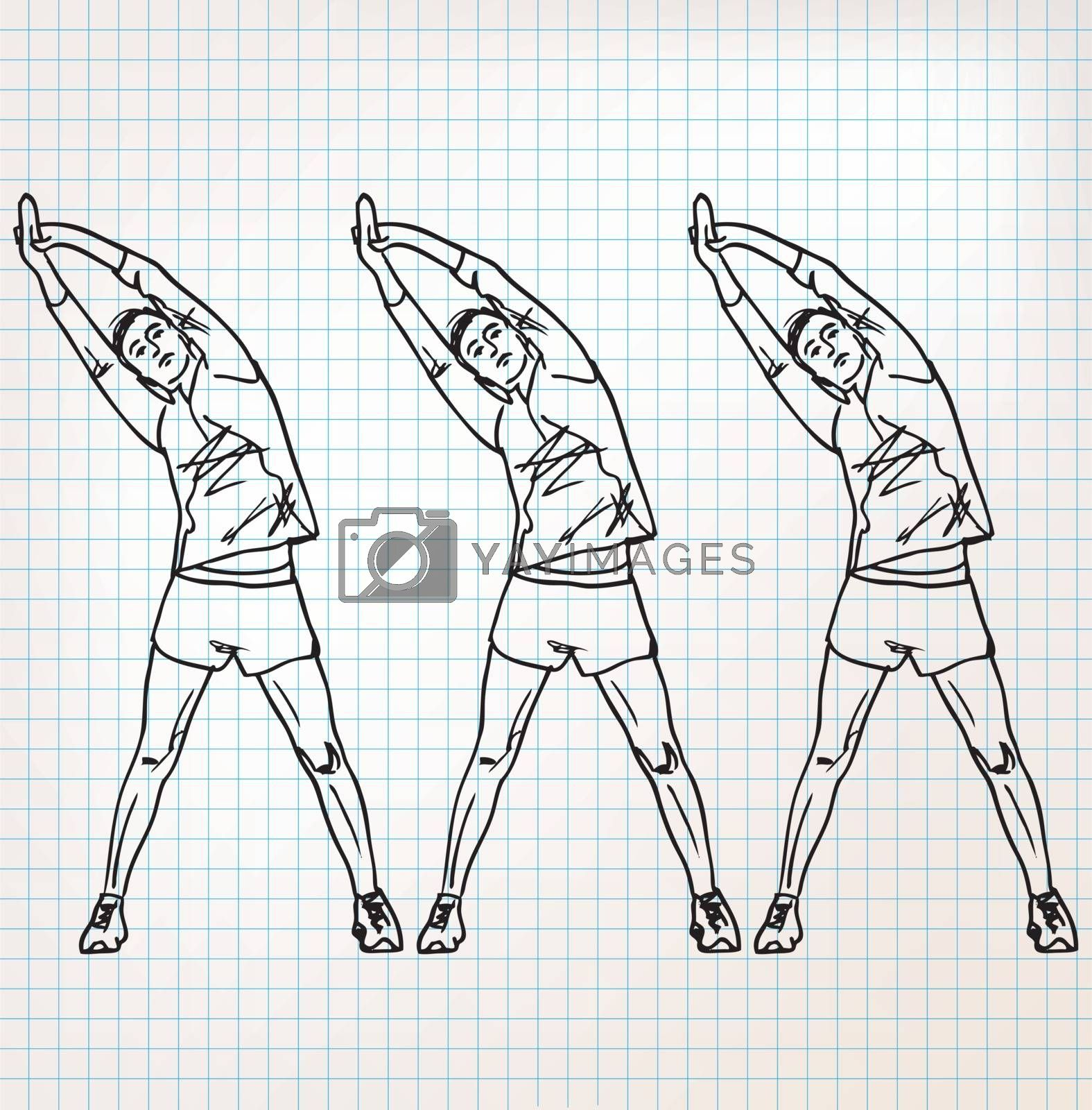 Stretching exercises sketch illustration