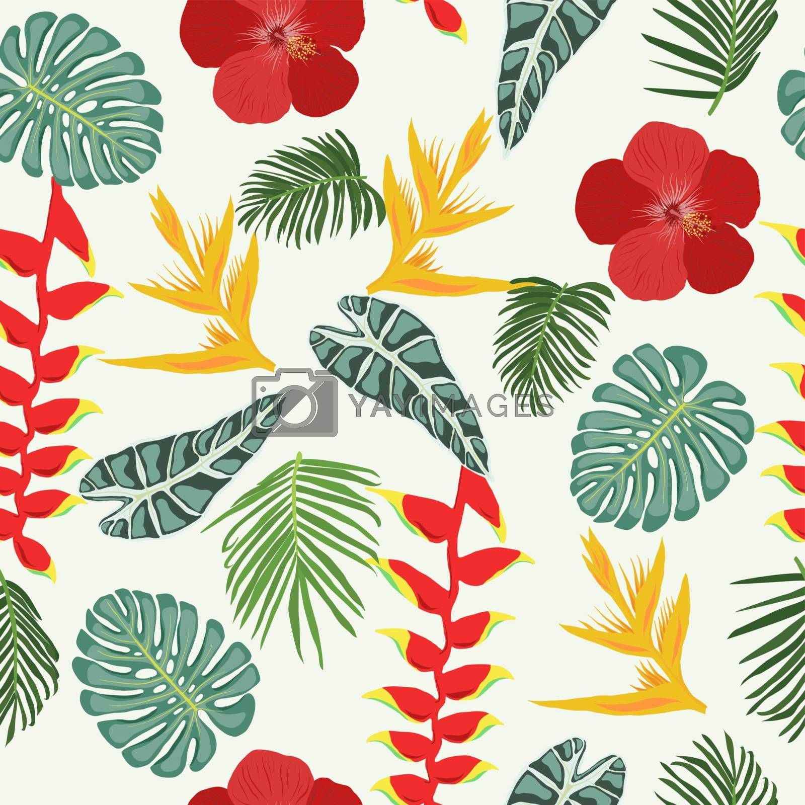 Seamless pattern with Tropical jungle leaves and flowers by Margolana