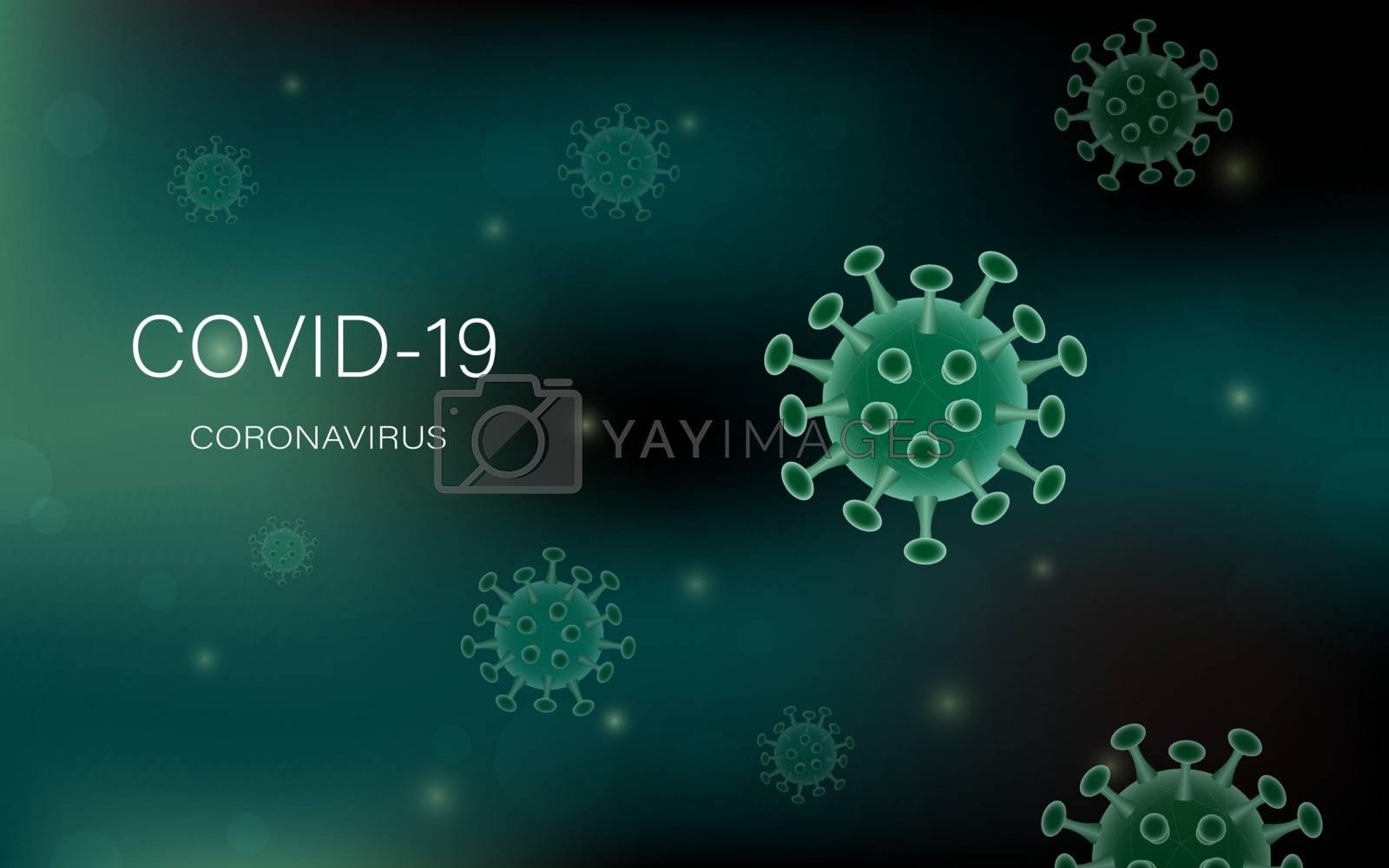Coronavirus or covid-19 model on bokeh background for advertising banner or leaflet,vector illustration