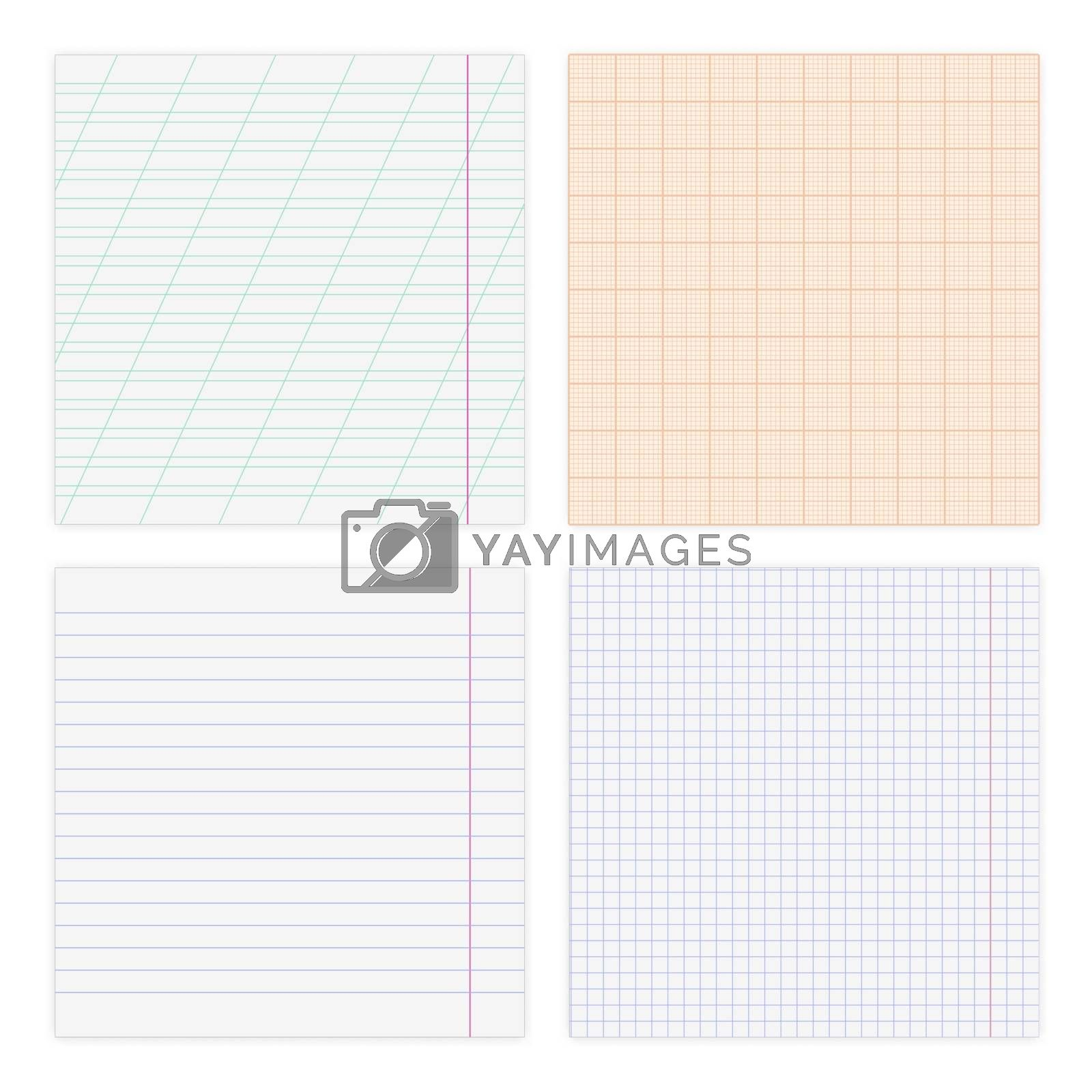 Set of various paper sheets, in a cage, line and graph, isolated on white background, vector illustration.