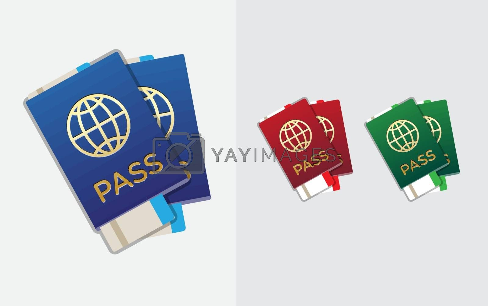 Set of Citizenship or Foreign Passport ID in Vector Colorful Icon can use as Logo