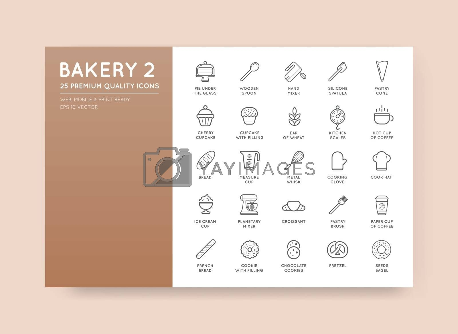 Set of Vector Bakery Pastry Elements and Bread Icons Illustration can be used as Logo or Icon in premium quality