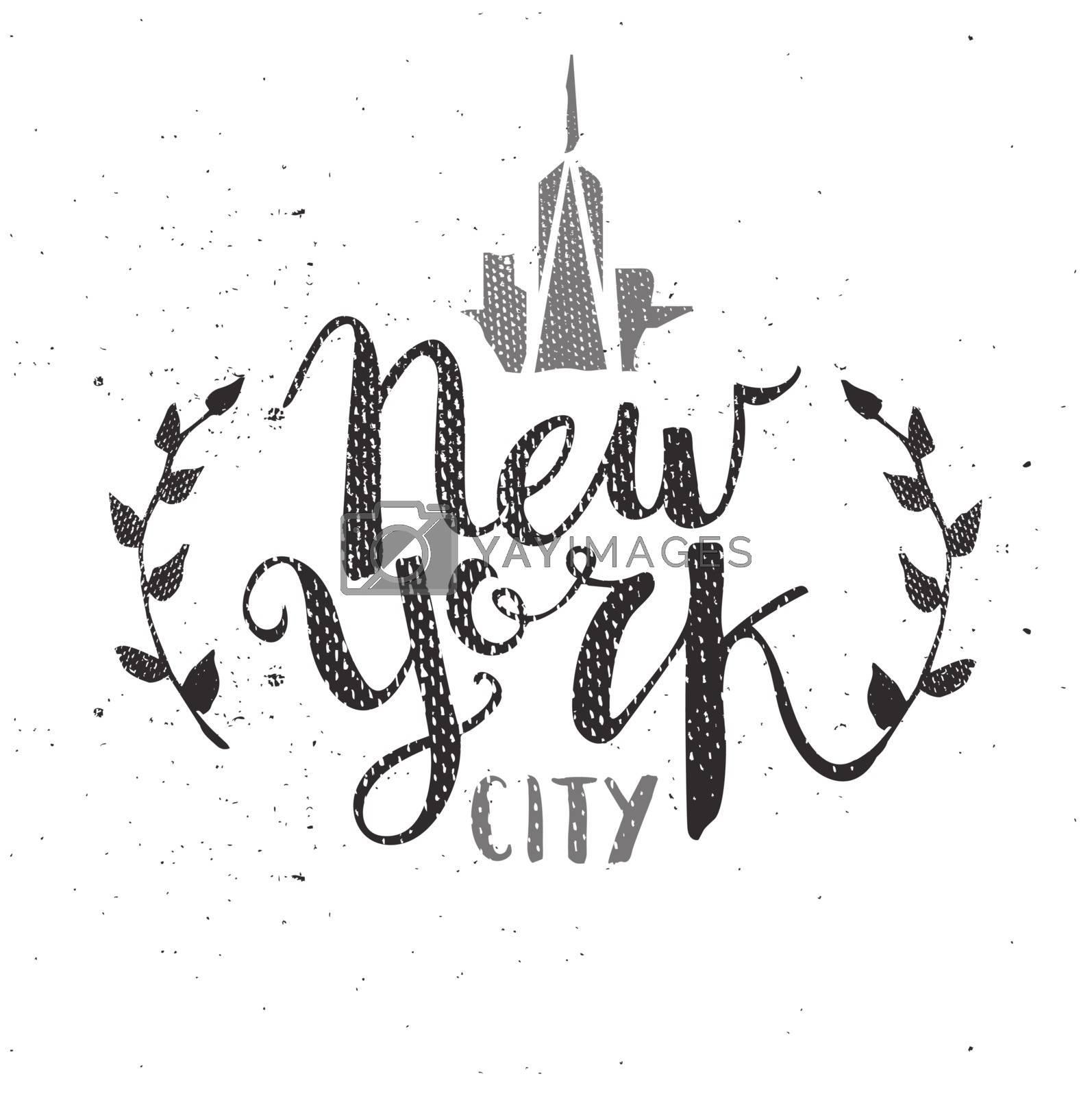 New York City Template Hand Drawn Calligraphy Pen Brush Vector
