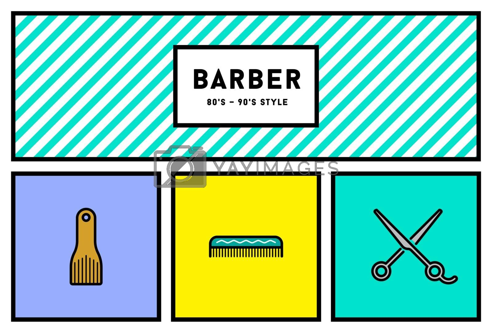 Vector 90s Style Icon Set with Retro 80s Colors