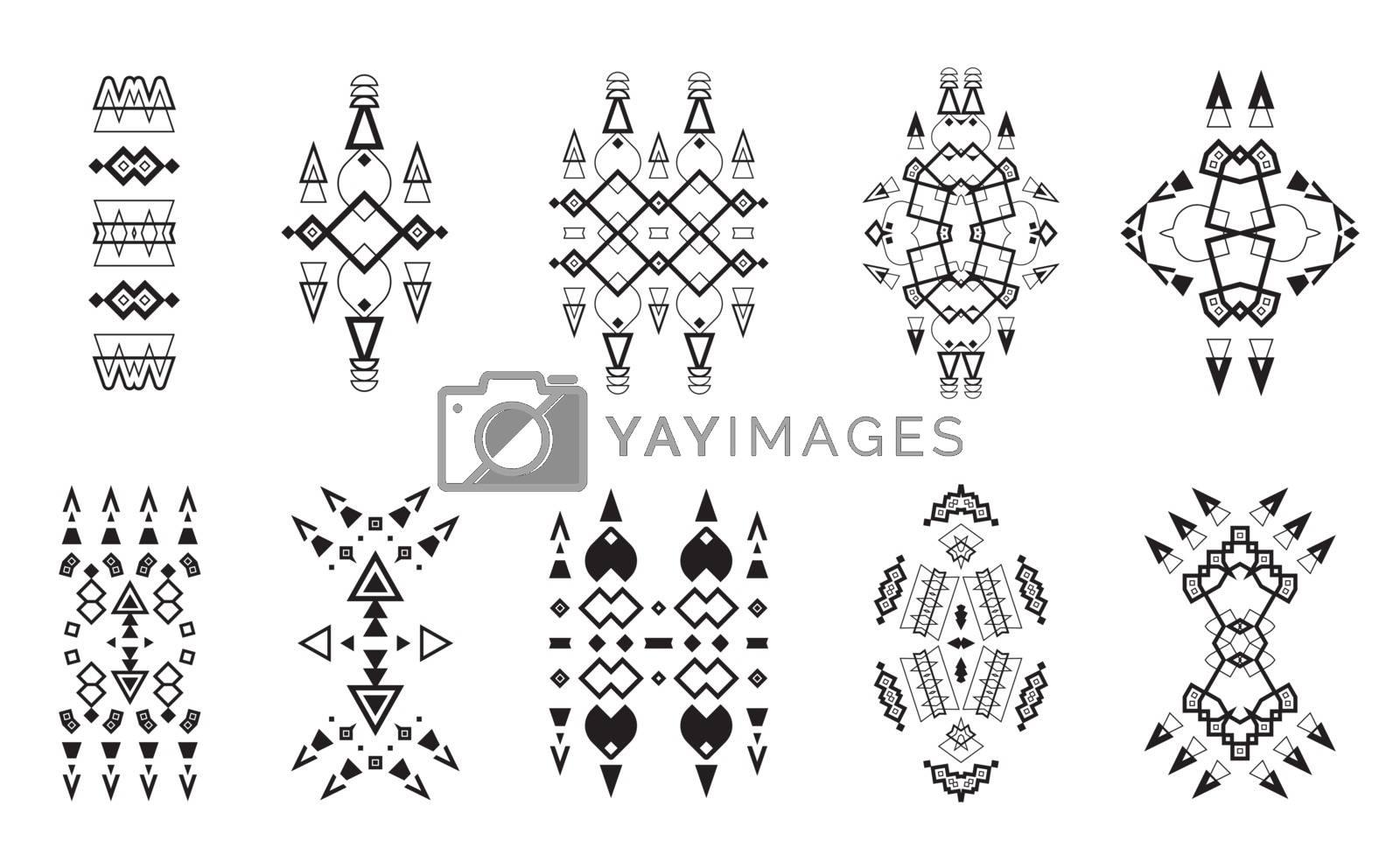 Tribal Elements Set Ethnic Collection, Aztec Art Design