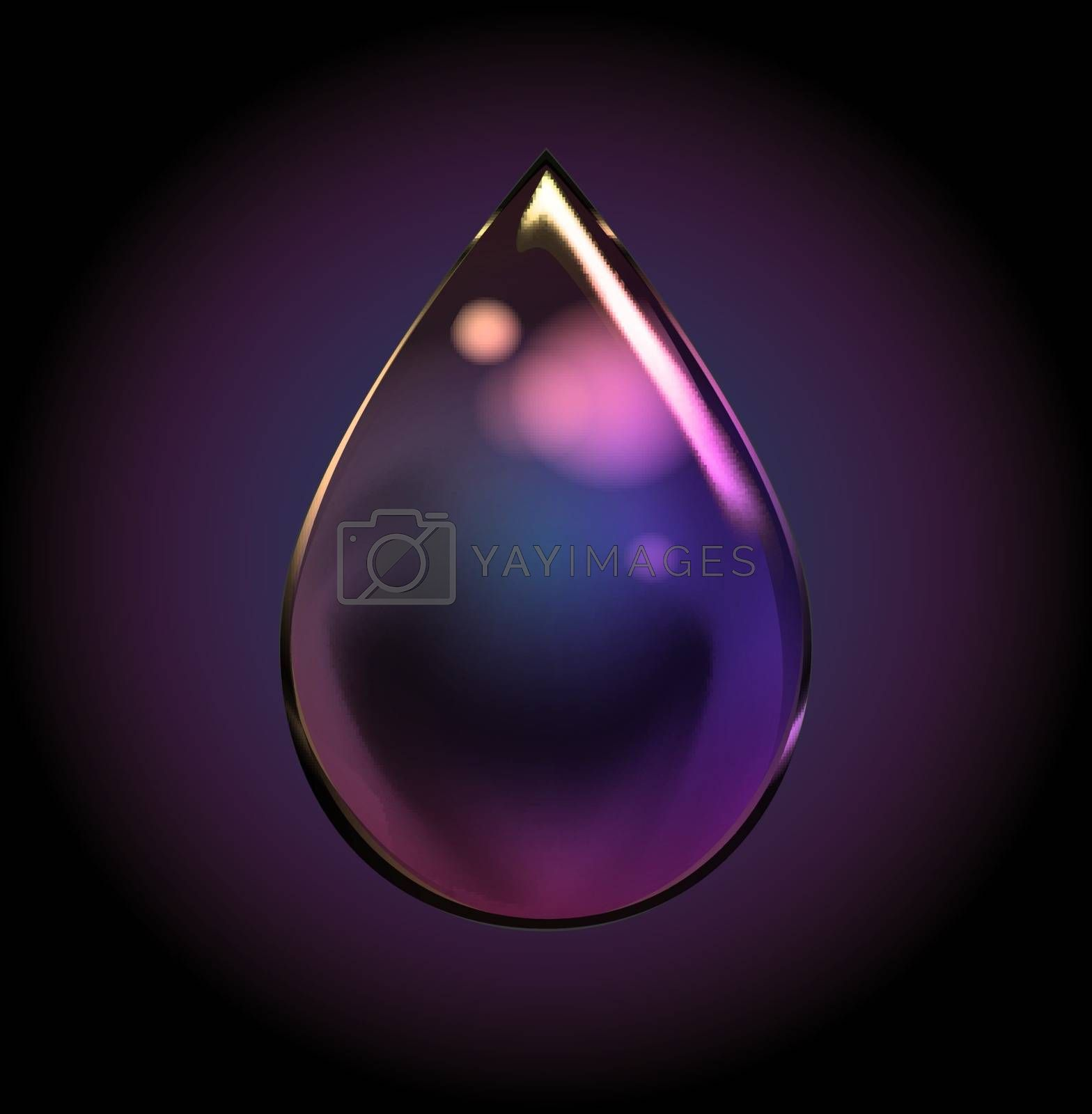 Vector Rainbow Water Drop. Transparent Isolated Realistic Design Elements. Can be used with any Background.