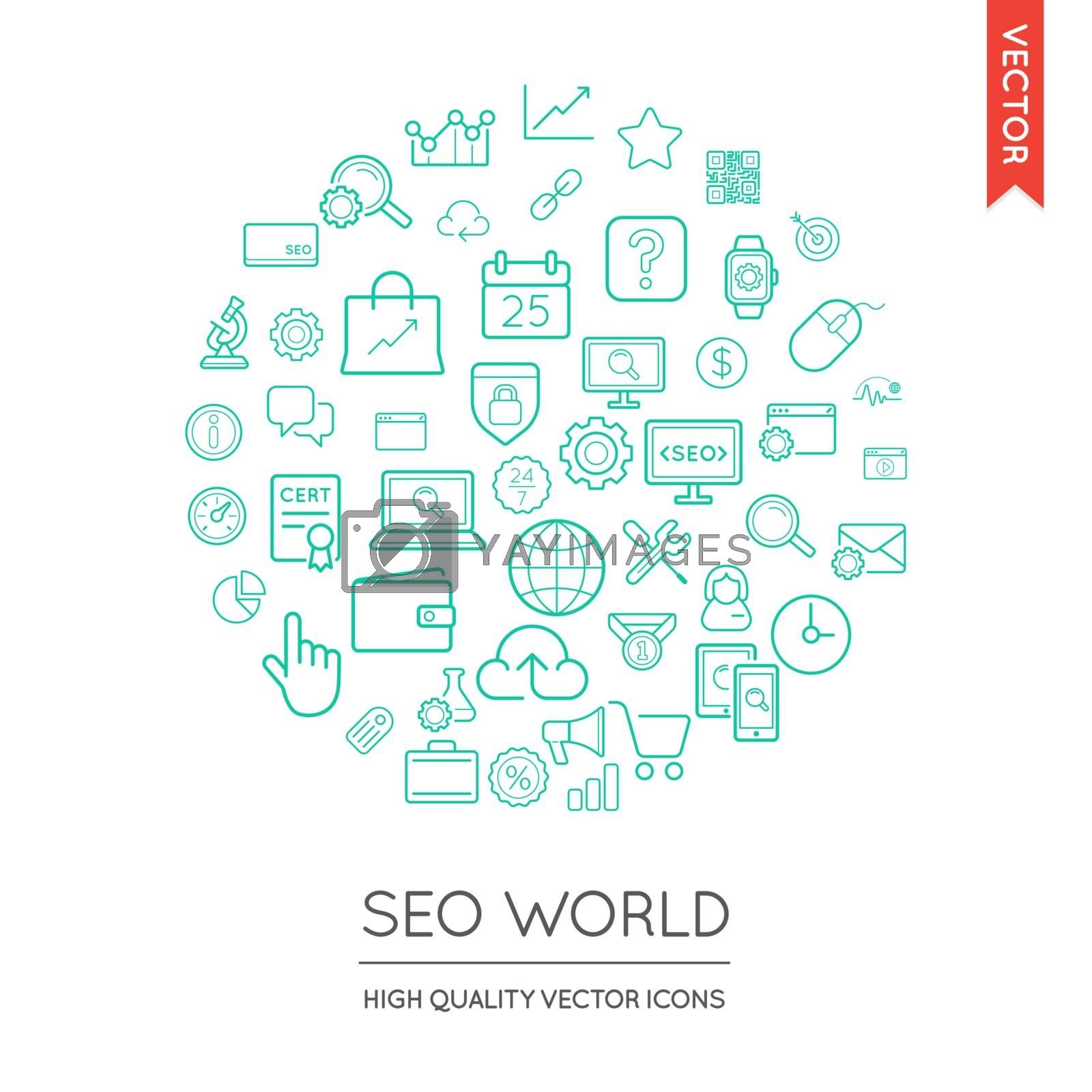 Vector Set of SEO Modern Flat Thin Icons Inscribed in Round Shape