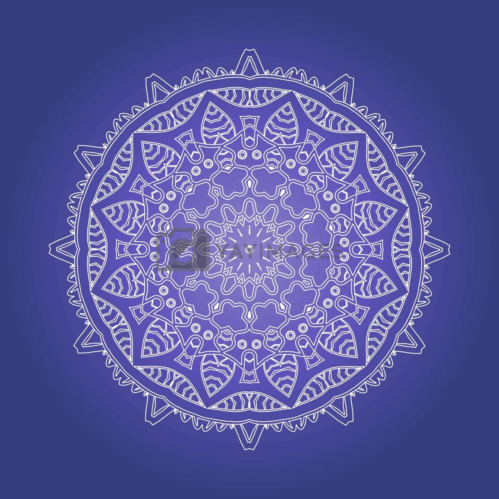 Ethnic Psychedelic Fractal Mandala Vector Meditation looks like Snowflake