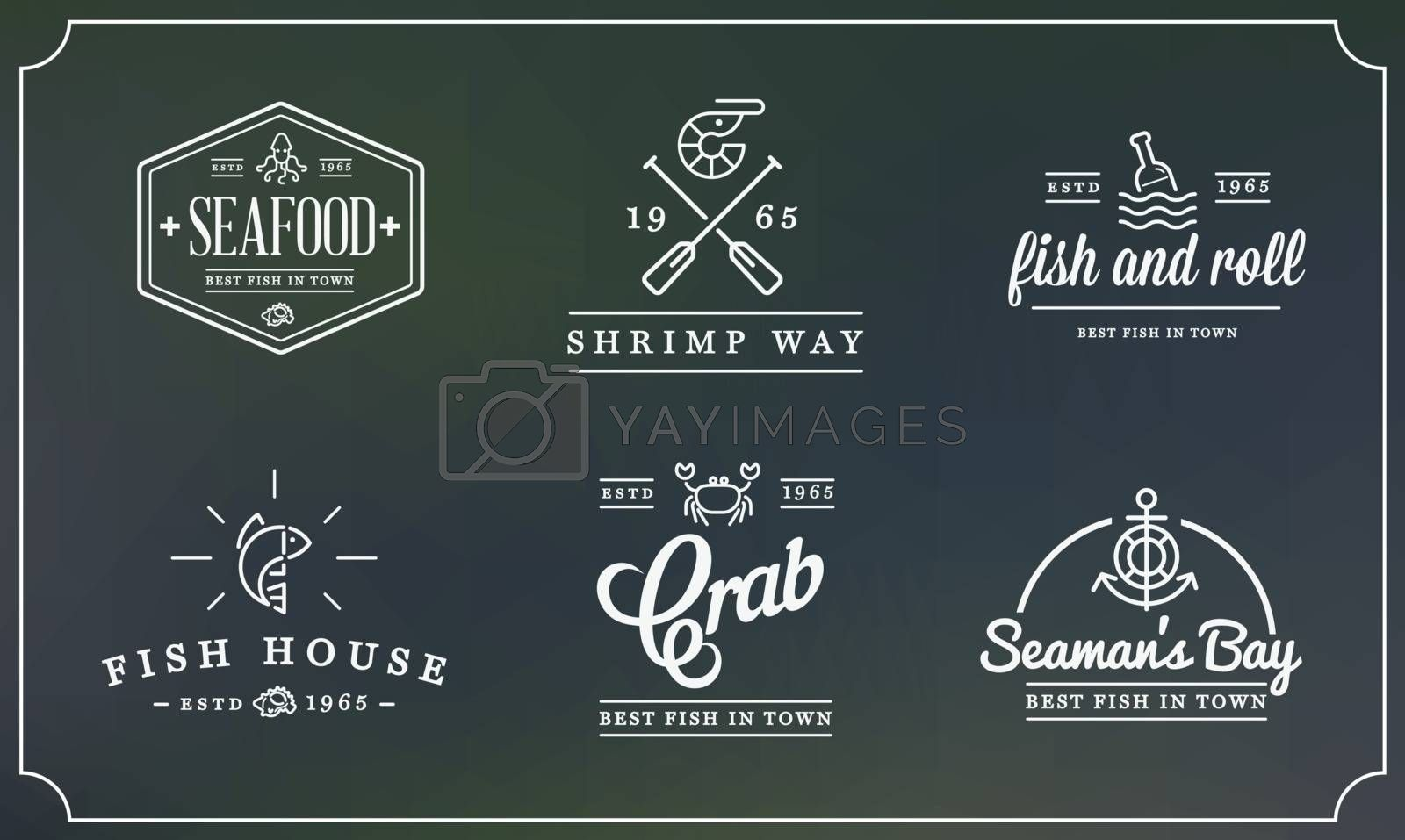 Set of Vector Sea Food Elements and Sea Signs Illustration can be used as Logo or Icon in premium quality