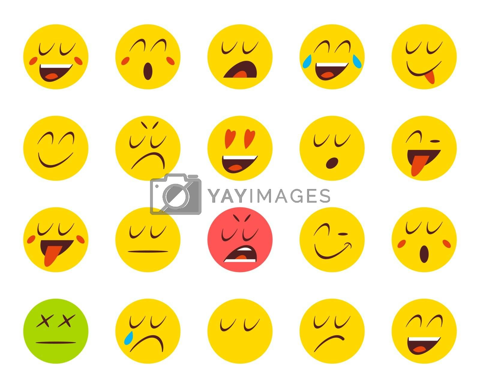 Set of Emoticons or Emoji. Vector Illustration.