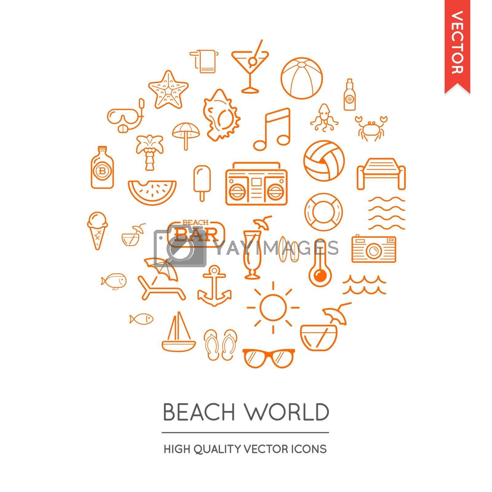 Vector Set of Beach Modern Flat Thin Icons Inscribed in Round Shape