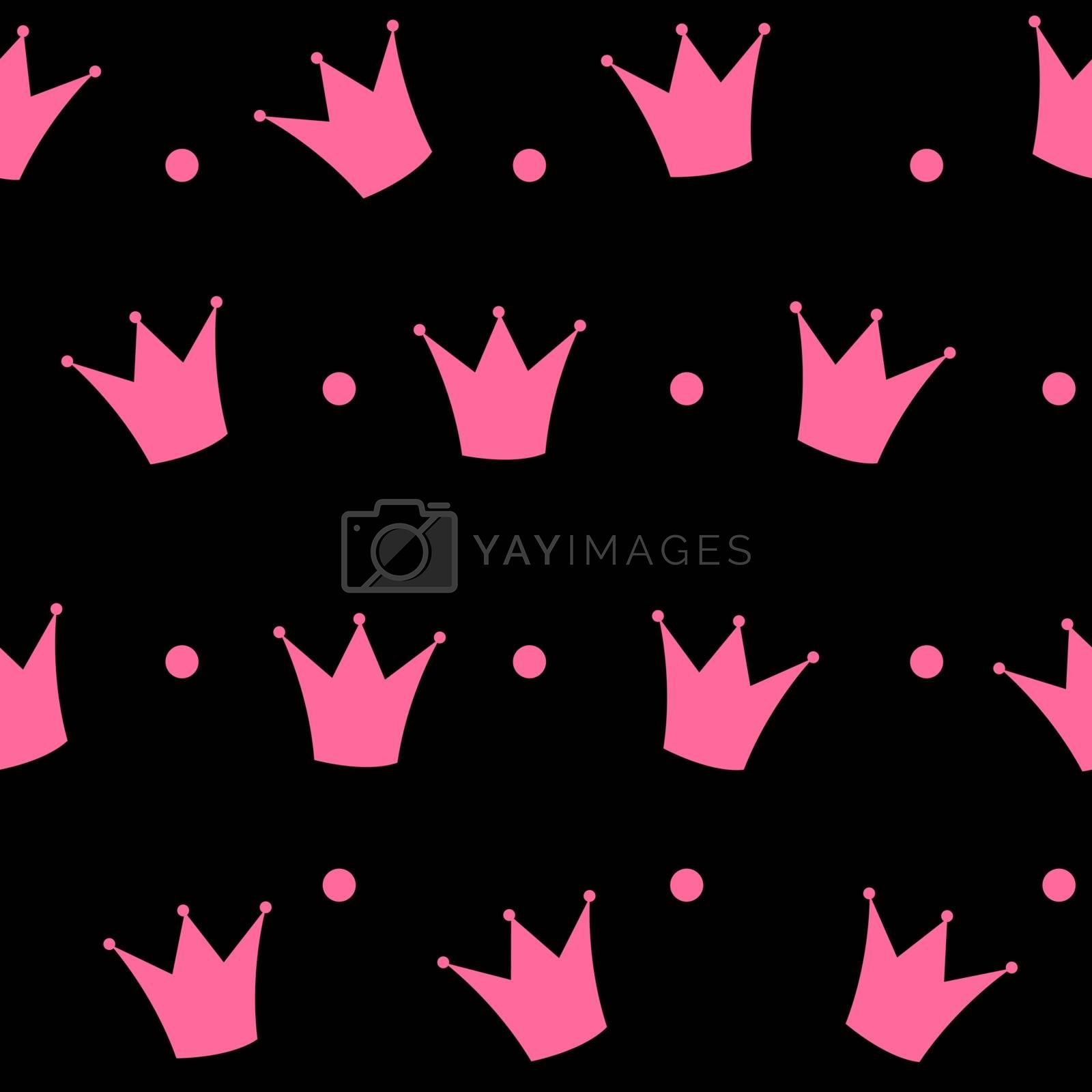 Princess Crown Seamless Pattern Background Vector Illustration. by yganko