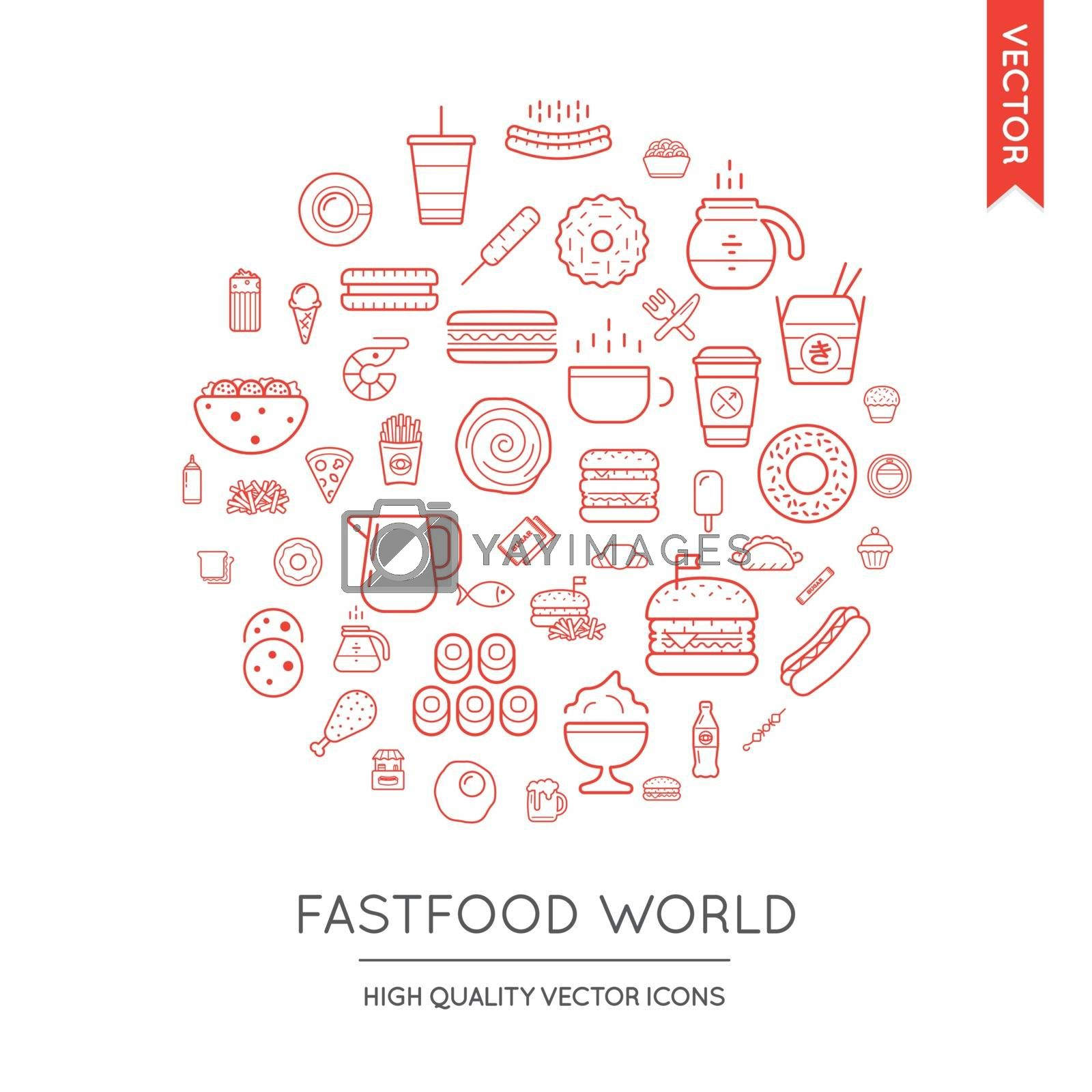 Vector Set of Fast Food Modern Flat Thin Icons Inscribed in Round Shape