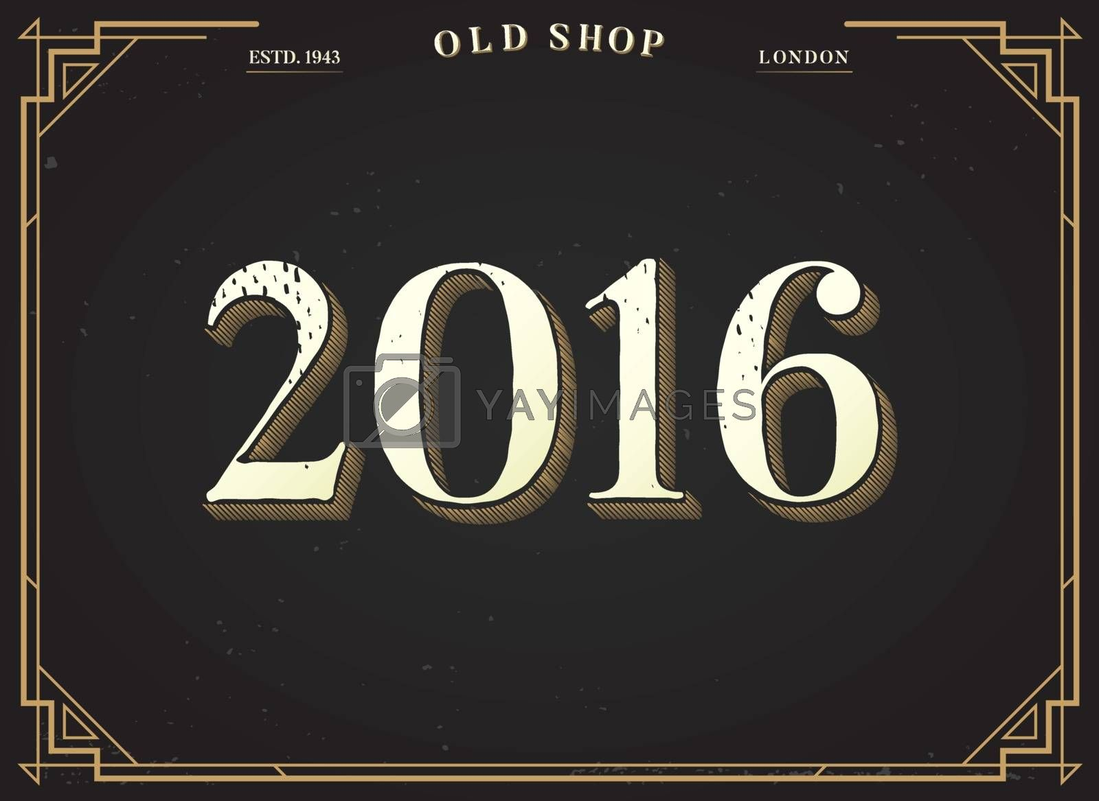 Alphabet Vector Font. Numbers 2016 with Classy Stylish Background