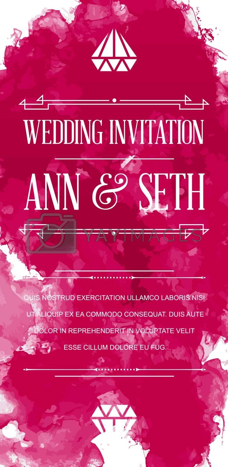 Vector Bright Colorful Watercolor Art Style Invitation for Celebration