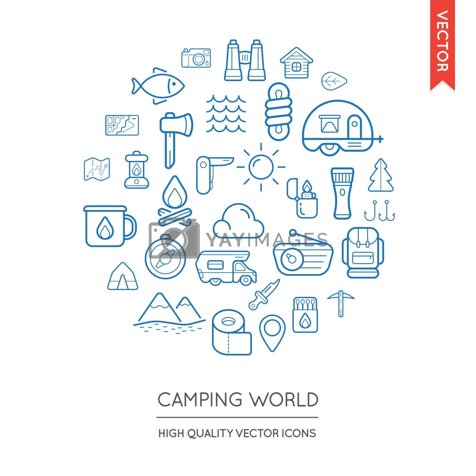 Vector Set of Camping Modern Flat Thin Icons Inscribed in Round Shape
