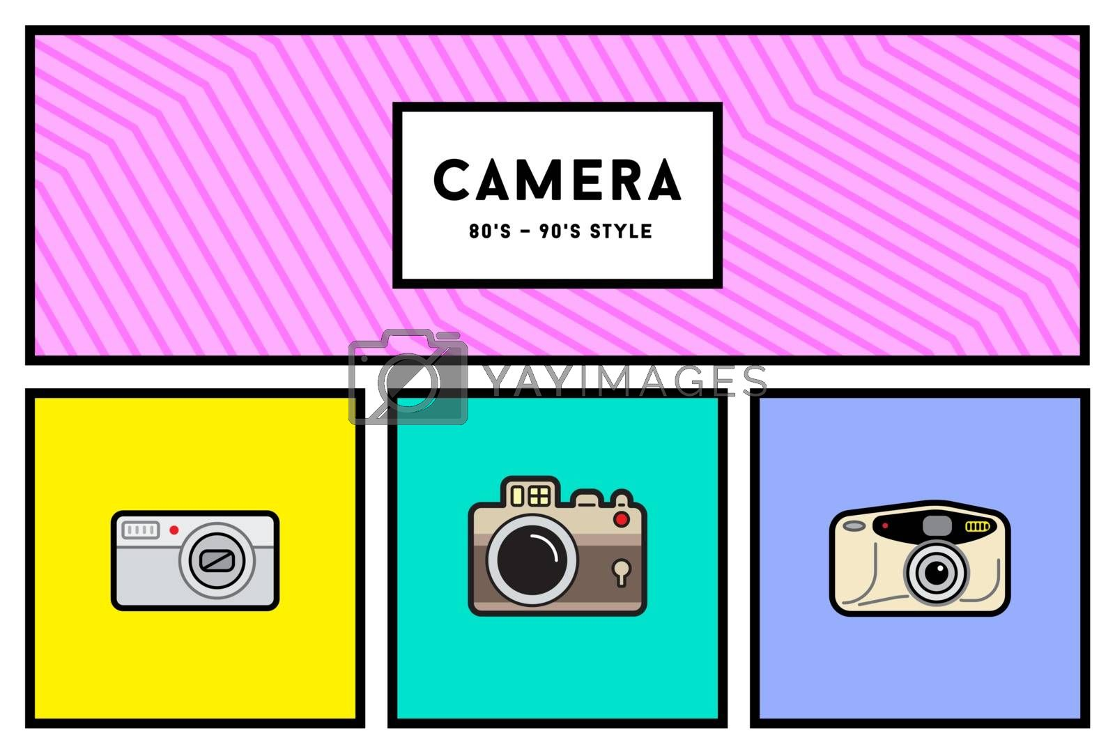 Vector 80's or 90's Stylish Photo Camera Icon Set with Retro Colors
