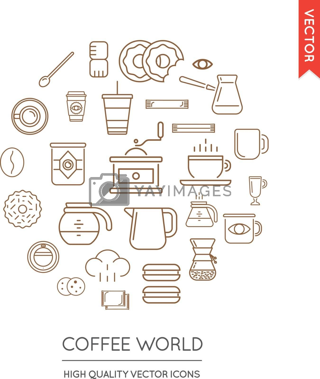 Vector Set of Coffee Modern Flat Thin Icons Inscribed in Round Shape