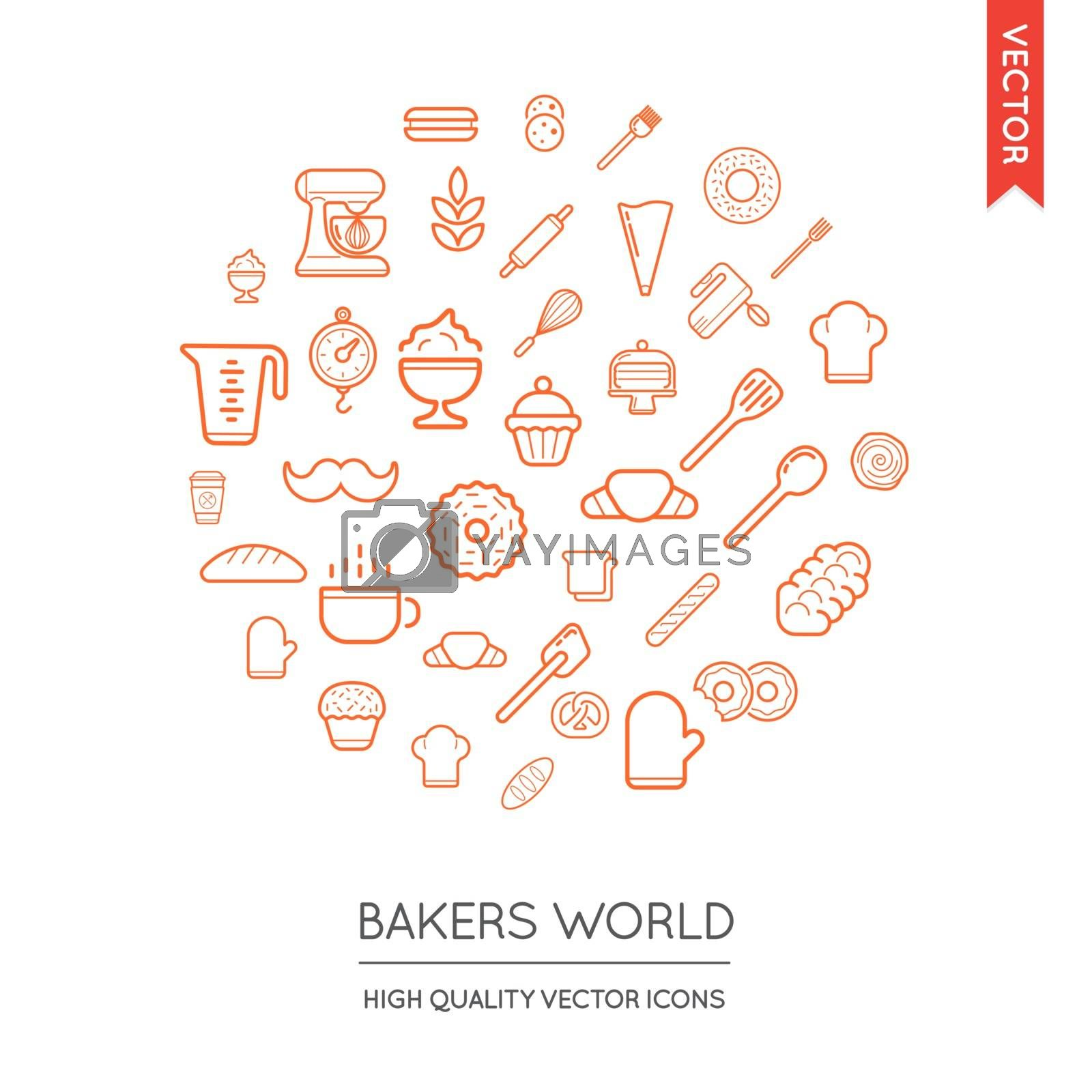 Royalty free image of Vector Set of Bakery Modern Flat Thin Icons Inscribed in Round S by ckybes