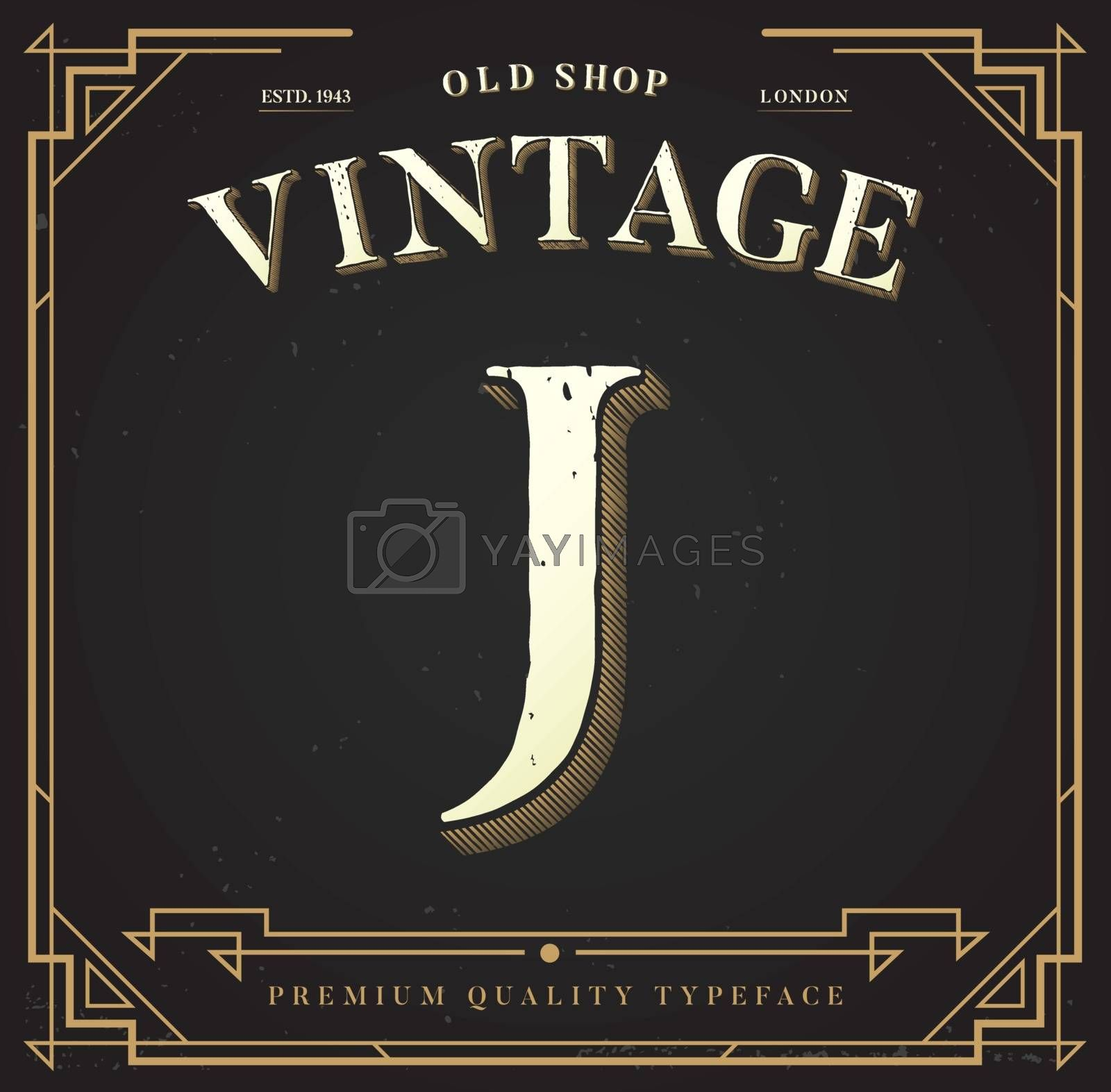 Alphabet Vector Font. Letter with Classy Stylish Background