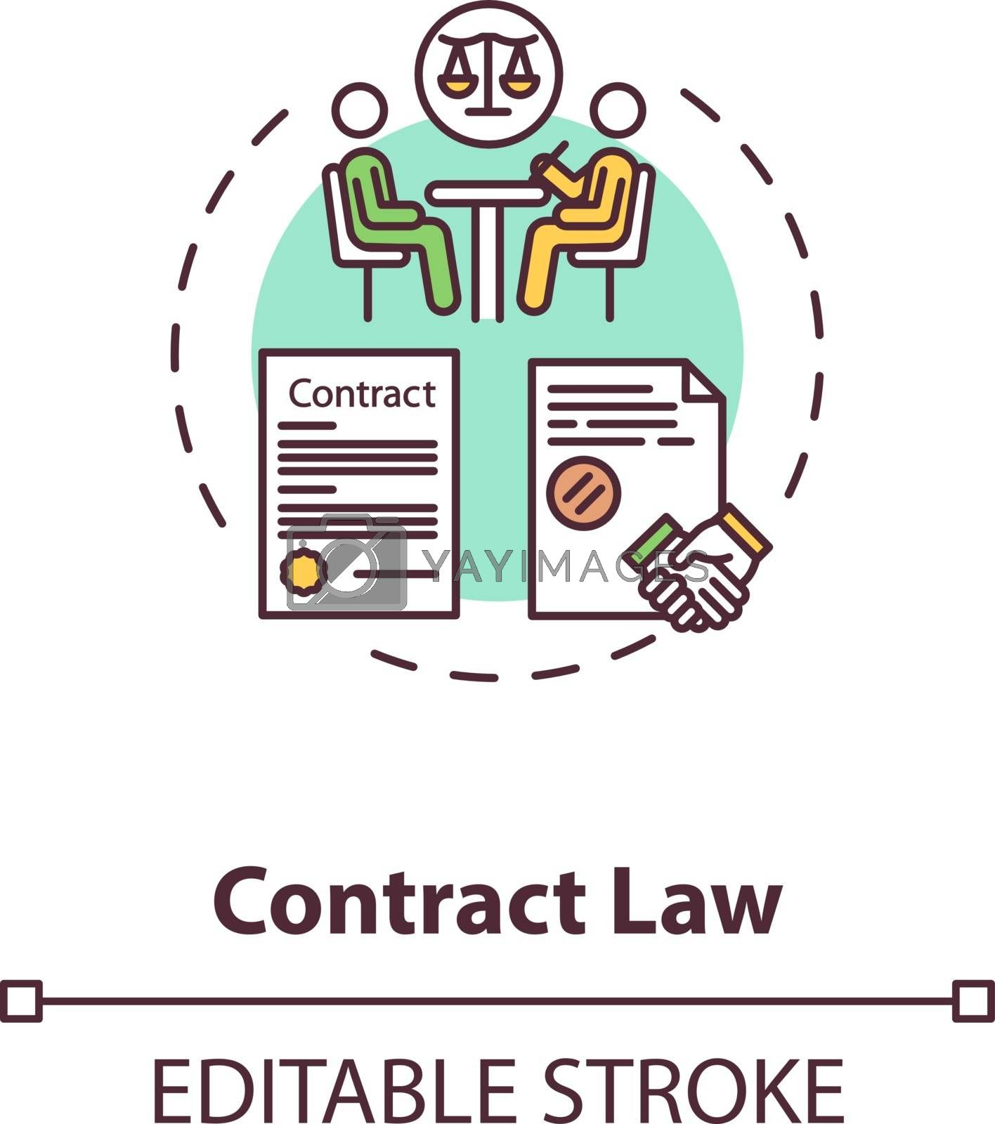 Contract law concept icon. Official document signing. Notary service. Legally enforceable contract idea thin line illustration. Vector isolated outline RGB color drawing. Editable stroke